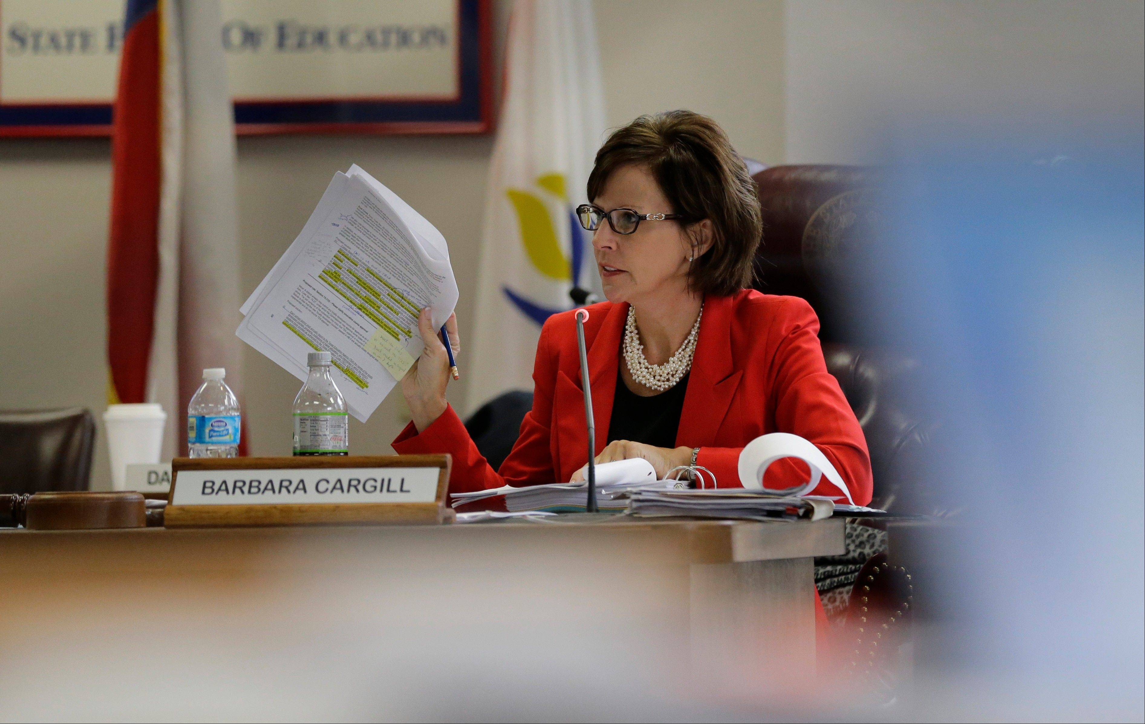 Texas Board of Education chair Barbara Cargill leads the groups meeting, Thursday, Nov. 21, 2013, in Austin, Texas. The Board of Education is casting critical votes on new science textbooks for use statewide