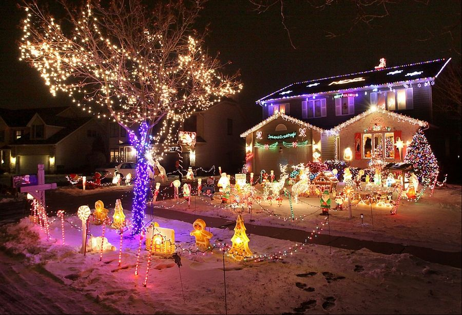 The Kyprianidis family's home in Elk Grove Village took the top prize in the 2010 holiday lights contest.