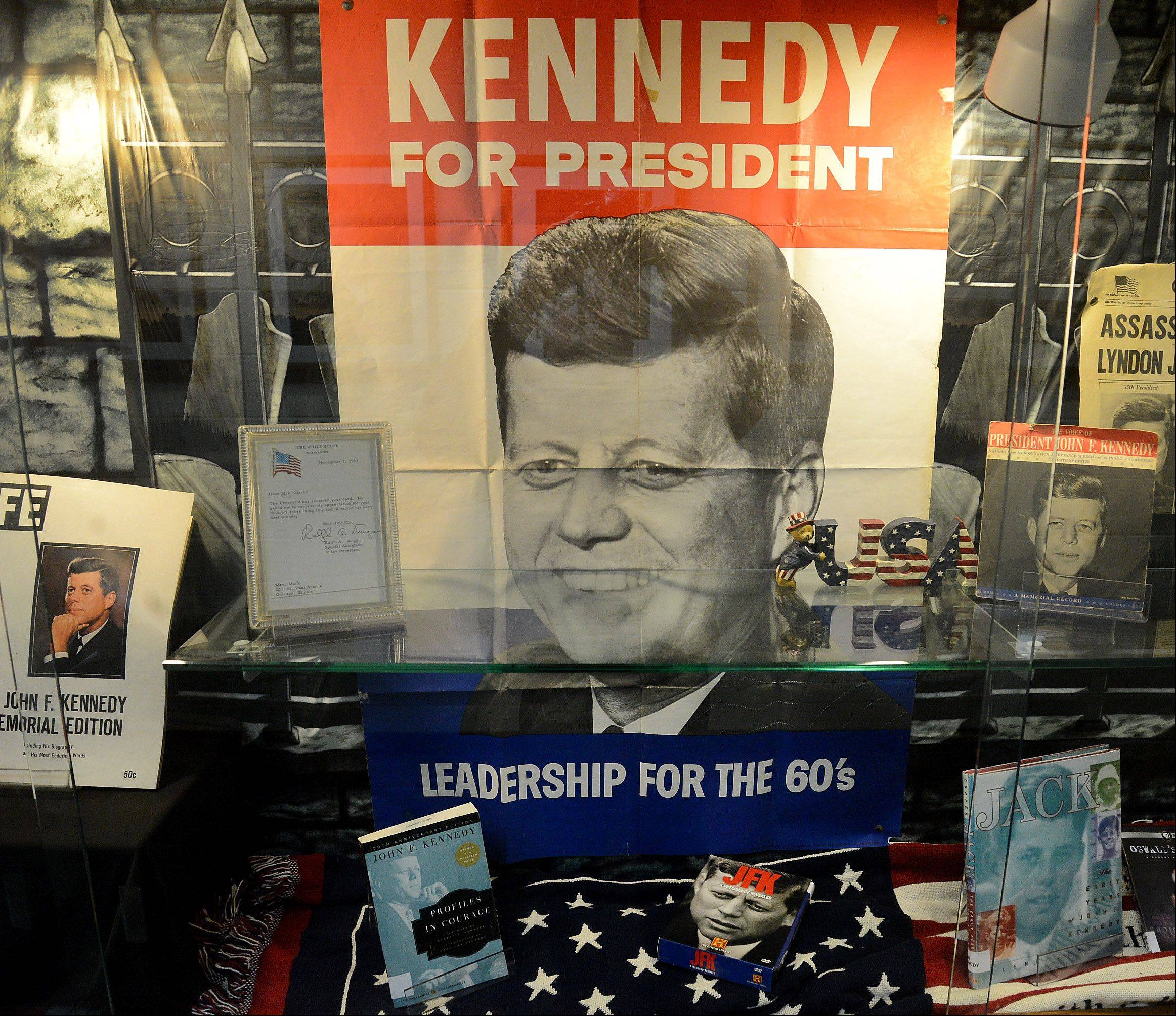 The John F. Kennedy display outside the Elk Grove High School library.