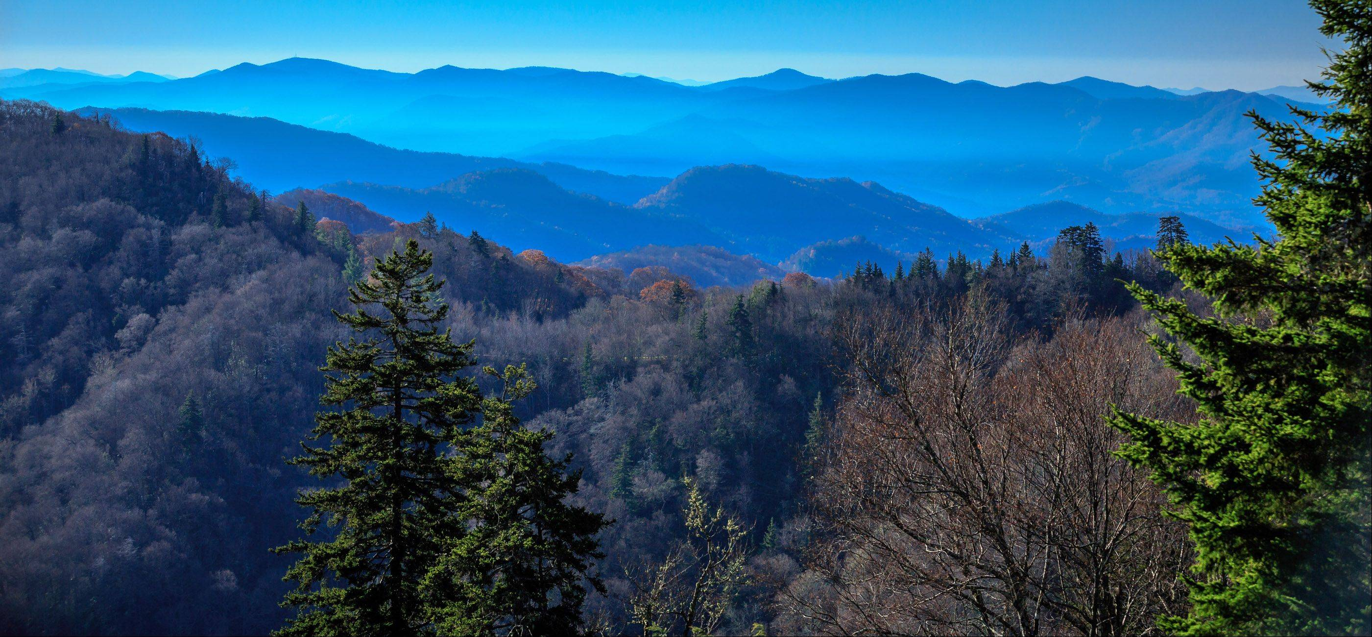 The Great Smoky Mountains in Tennessee at 8 a.m. on November 11th looking toward the southeast from Clingman's Dome, the highest point in the park at 6,643 feet.