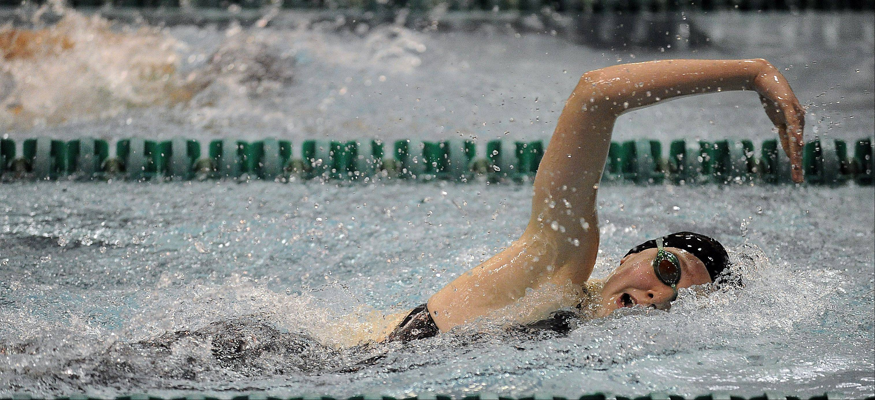 Barrington's Kirsten Jacobsen competes in the 200-yardd freestyle at the girls swimming state meet prelims at New Trier High School on Friday.