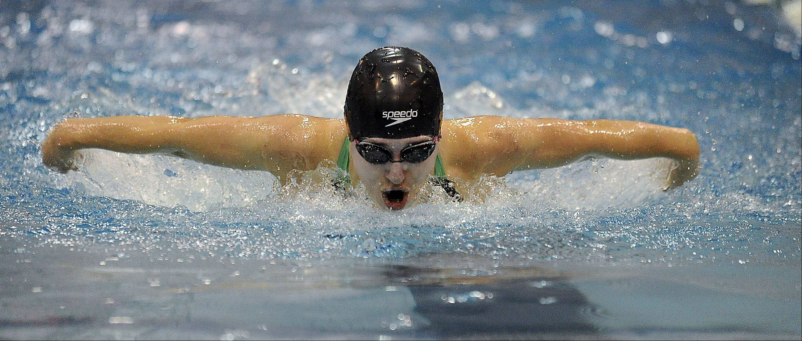 Rebecca Hannon of Stevenson competes in the 100-yard butterfly at the girls swimming state meet prelims at New Trier High School on Friday.