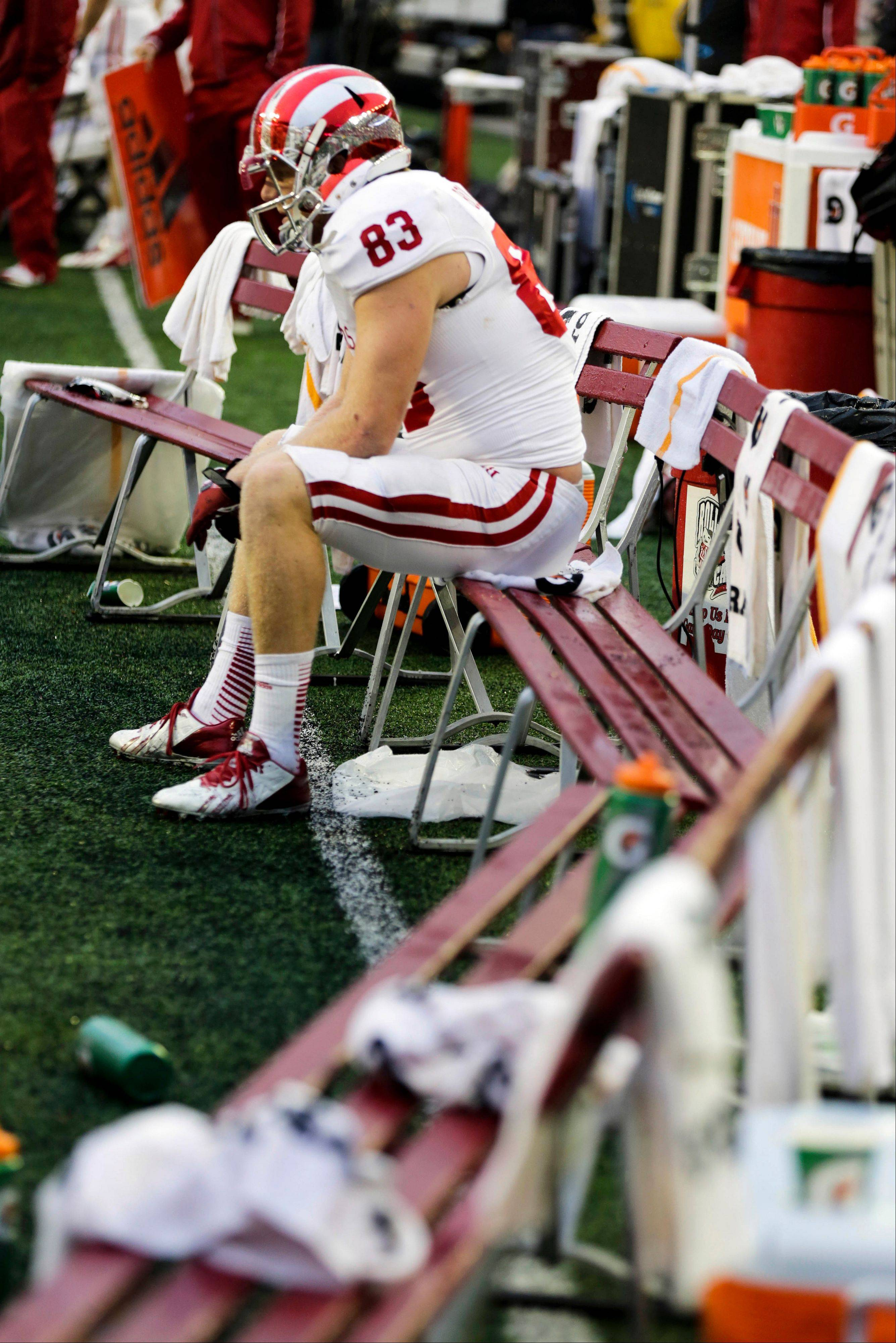 Indiana's Ted Bolser sits on the bench during the second half of a 51-3 loss to Wisconsin last Saturday in Madison, Wis.