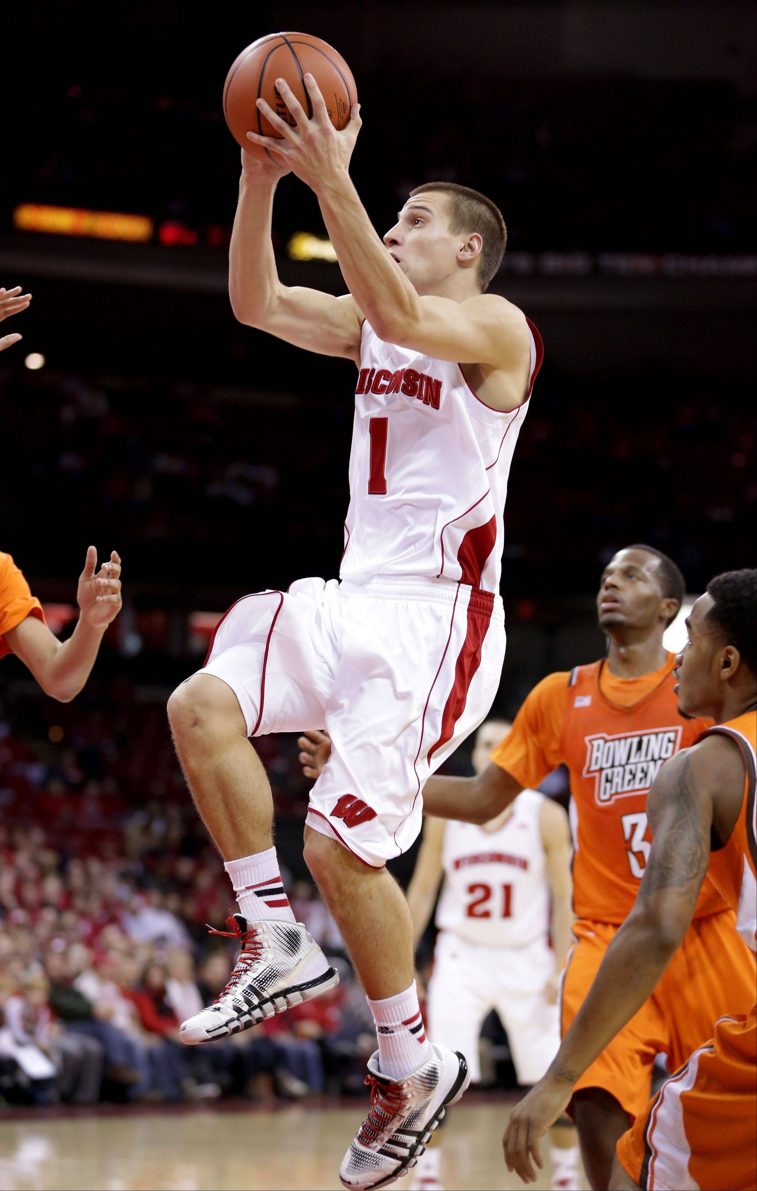 Wisconsin's Ben Brust scores during the second half of Thursday's home game against Bowling Green.