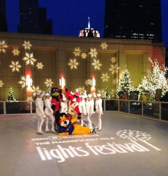 Hubert the Lion, Tommy Hawk and Benny the Bull are joined by holiday ice-skaters for the kick off celebration of BMO Harris Bank's Magnificent Mile Lights Festival on November 23.