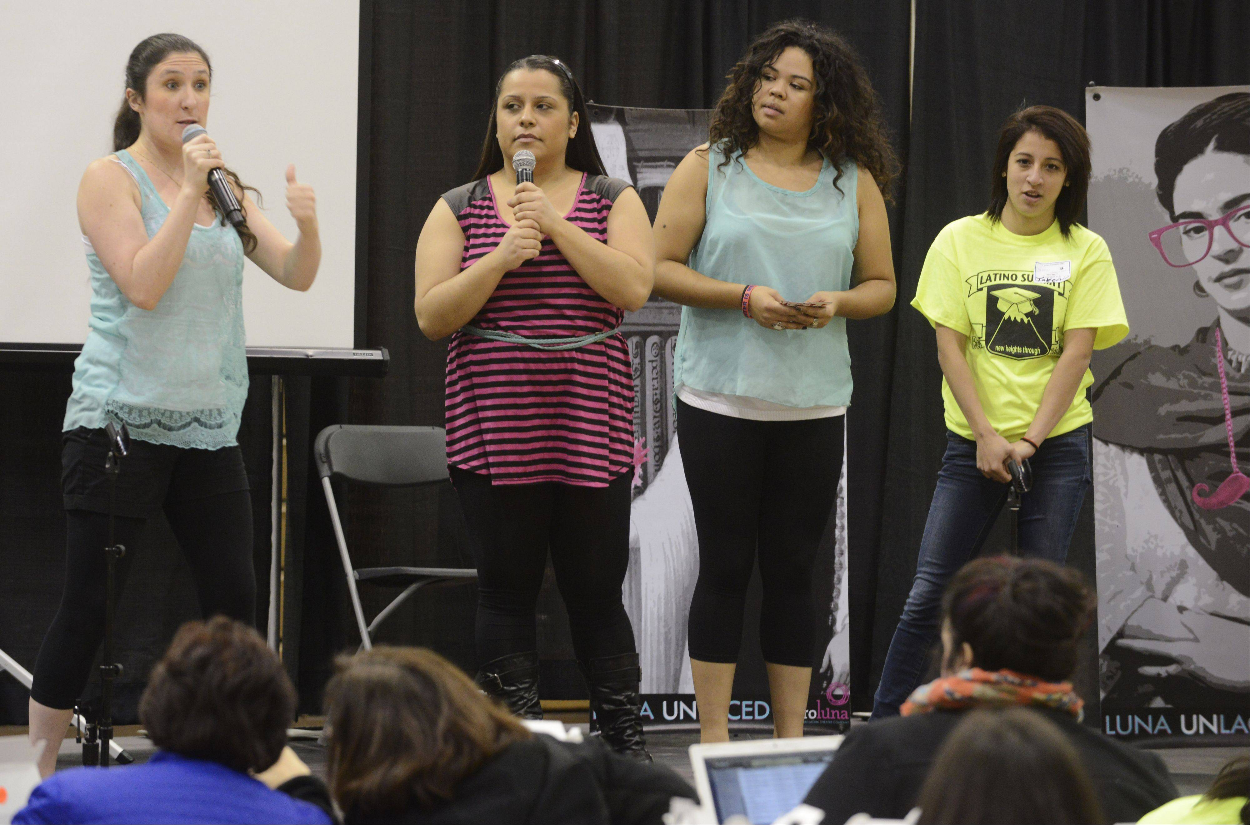 """Luna Unlaced,"" a theatrical group, performs during Friday's Latino Summit at Harper College in Palatine."