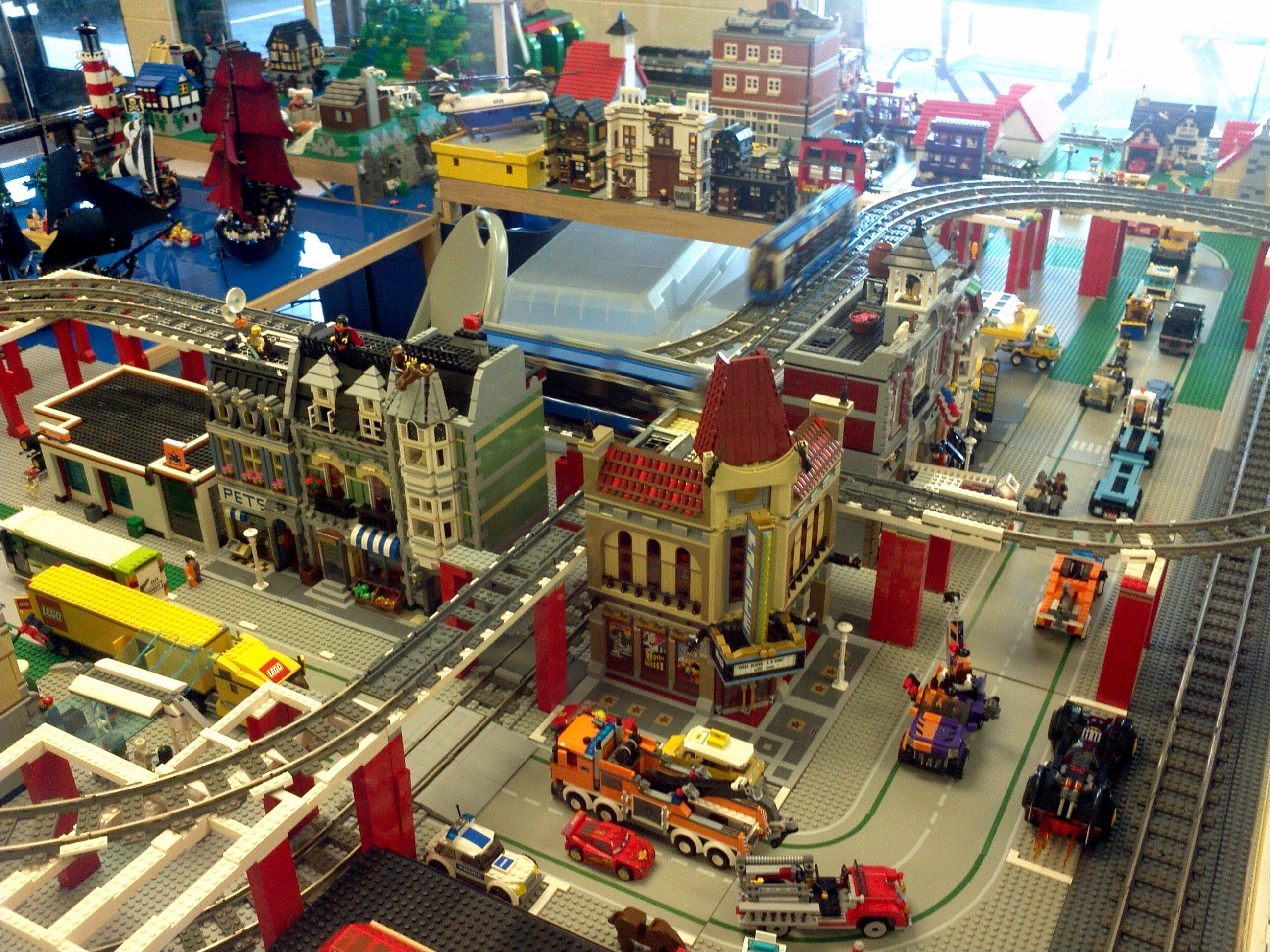The Lego Village created by Randy Flones of South Elgin is part of the holiday show up Nov. 29 to Dec. 30 at the Bloomingdale Park District Museum.