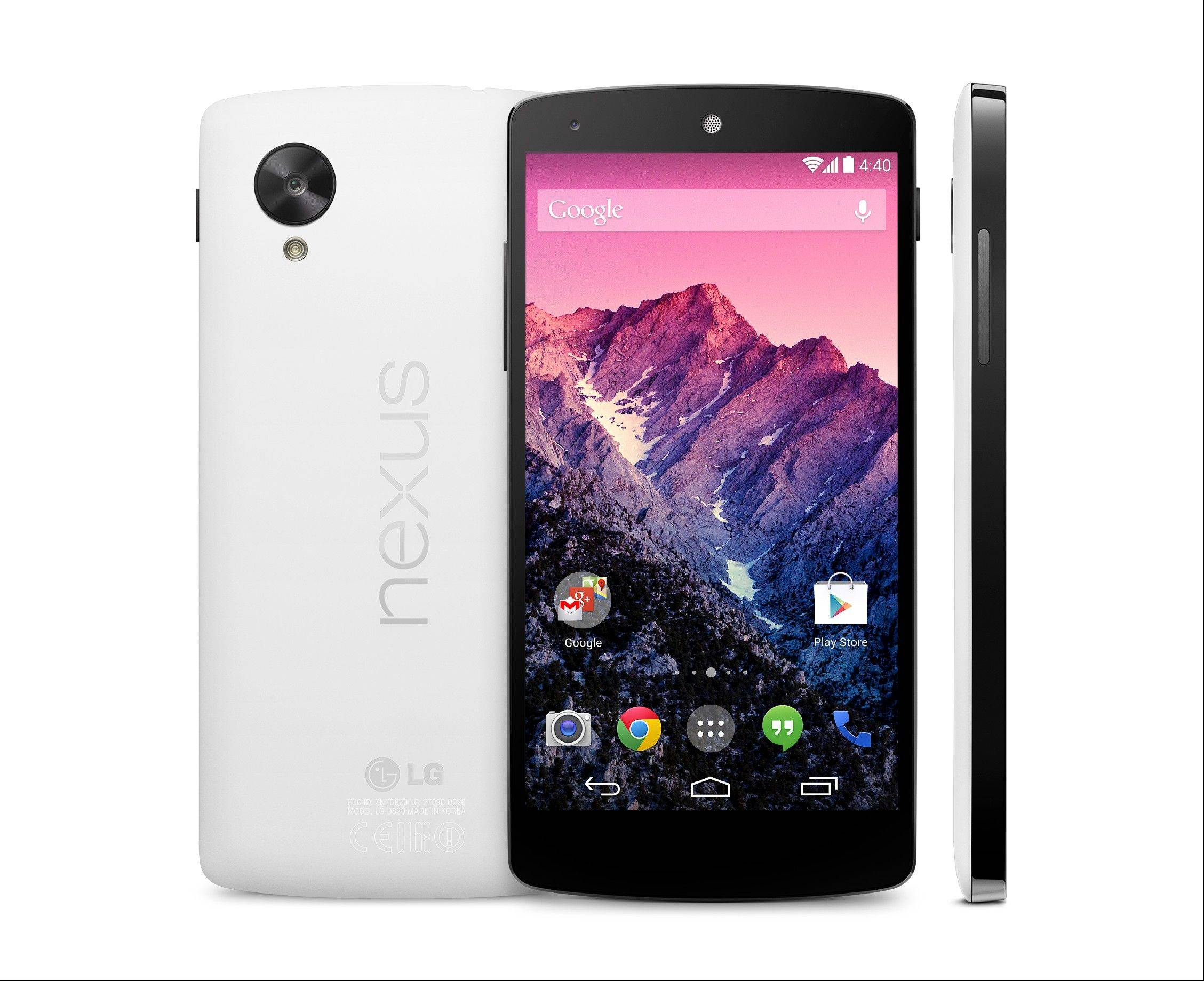 This image provided by Google shows its new Nexus 5 phone, which was unveiled Thursday, Oct. 31, 2013. The Nexus 5 phone is the first device to run on the latest version of Google's Android operating system, nicknamed after the Kit Kat candy bar. The phone and software are designed to learn and anticipate a person�s interest and needs. (AP Photo/Google)