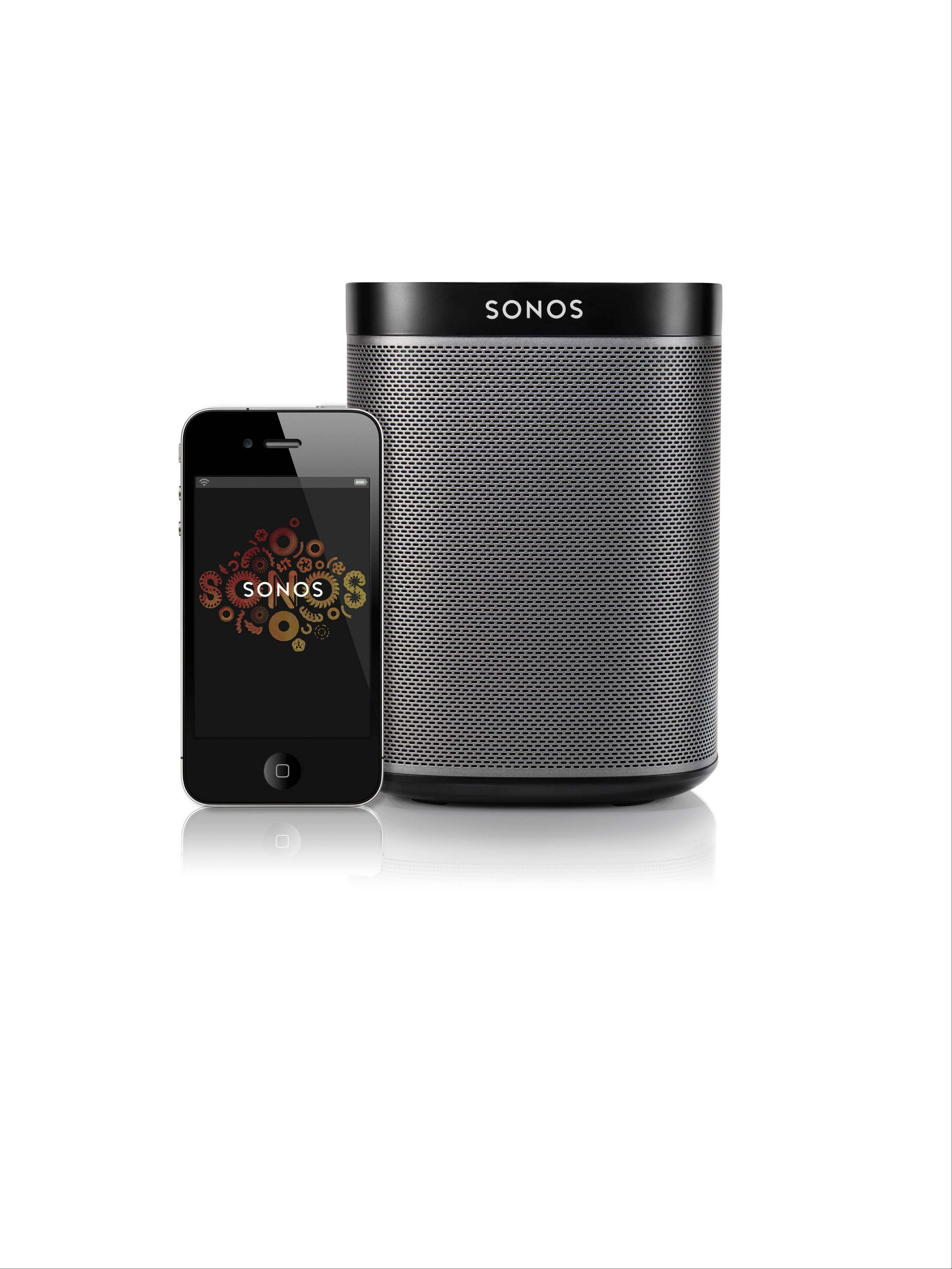 Sonos Black Play 1 speakers run over Wi-Fi and need to be plugged into a power outlet. The speakers are designed to disperse sound in a wide radius and fill a room with sound.