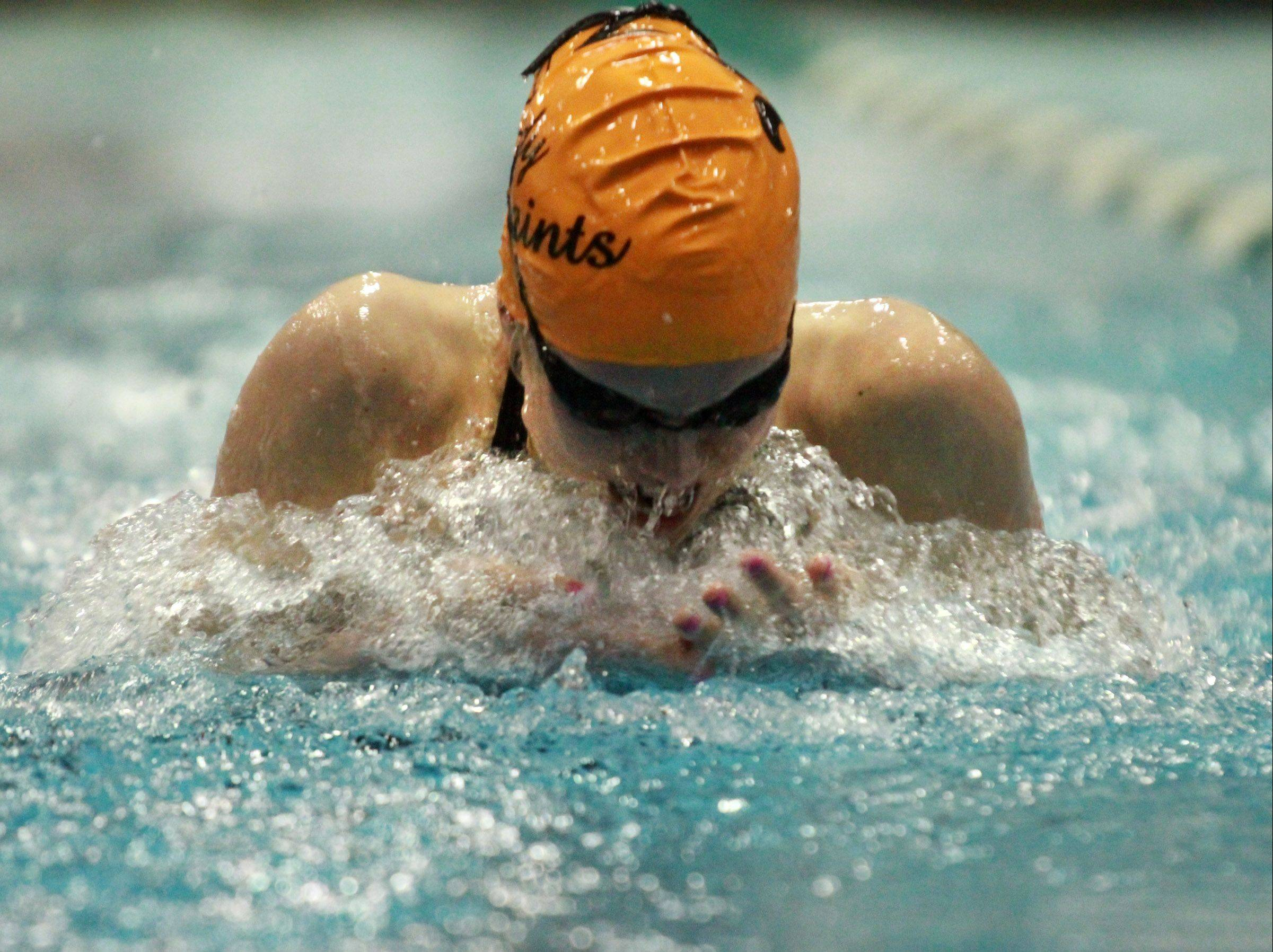 St. Charles East Shea Hoyt placed third in the 100-yard breaststroke at the girls state swimming finals on Saturday at New Trier.