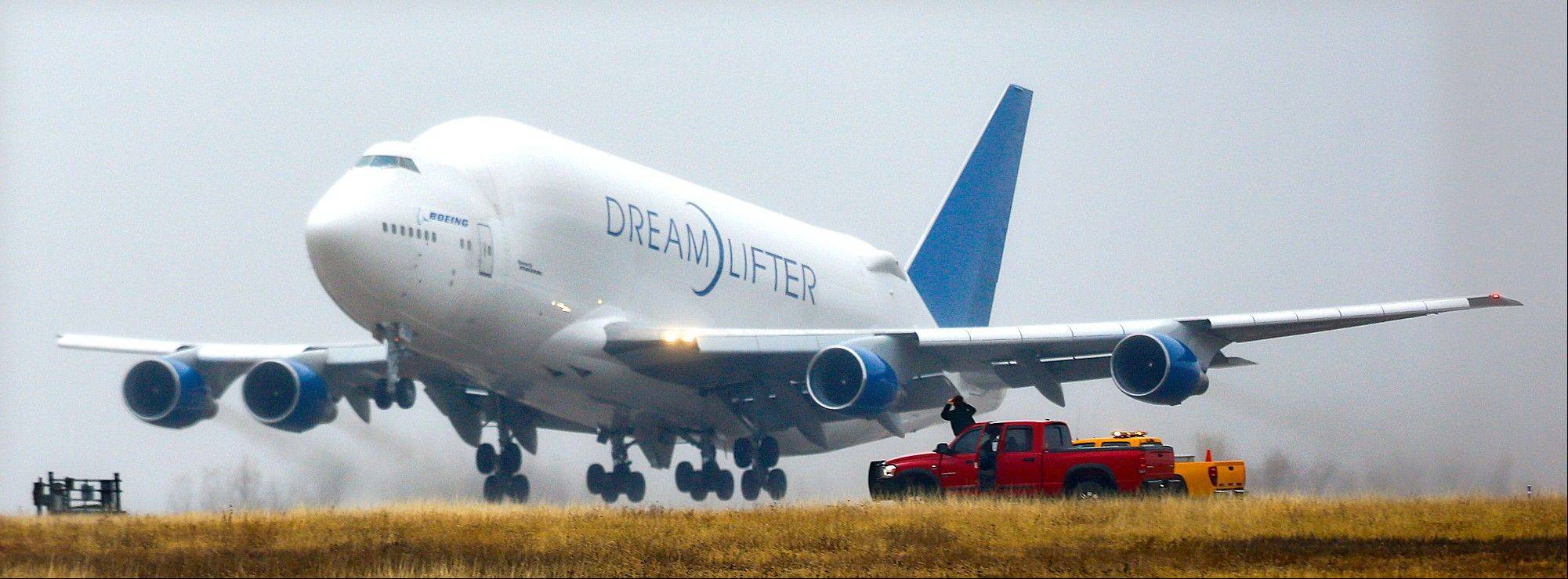 "A Boeing 747 ""Dreamlifter"" takes off Thursday, the day after it mistakenly landed at Col. James Jabara Airport in Wichita, Kan."