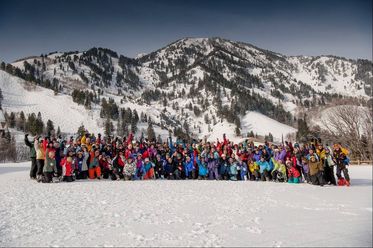 Members of the 70 + Ski Club at Snowbasin Resort, Huntsville, Utah, in February. The National Ski Areas Association says the number of seniors on the slopes has been creeping up each year.
