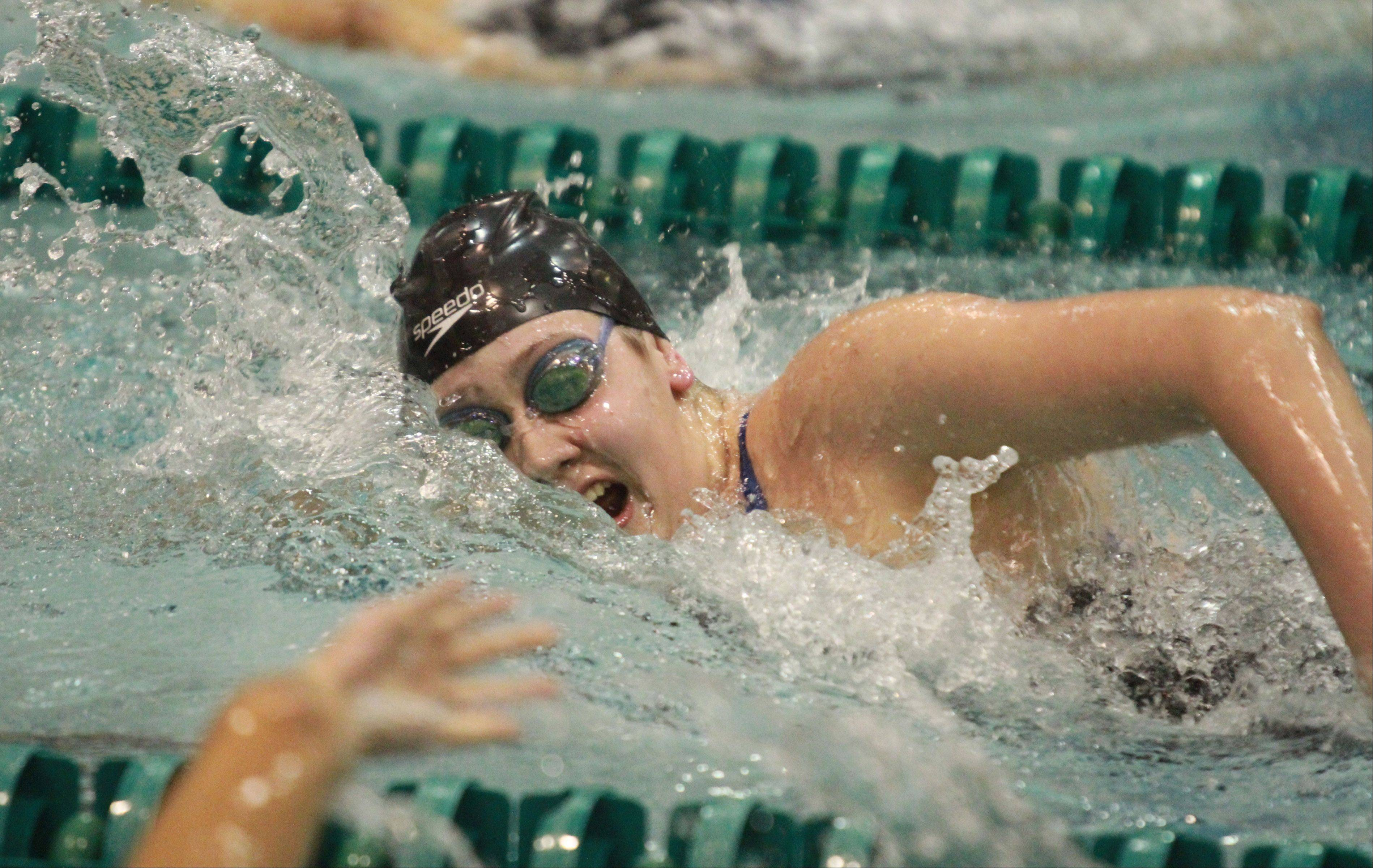 George LeClaire/gleclaire@dailyherald.comSt. Charles North's Monica Guyett finished 8th in the 500 yard freestyle at the girls state swimming finals on Saturday at New Trier.