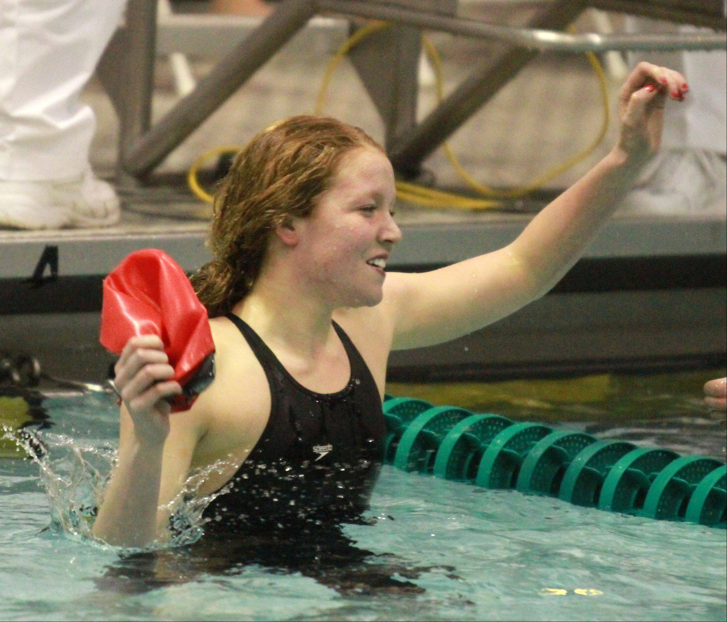 Mundelein's Erin Falconer placed second in the 200-yard freestyle at the girls state swimming finals on Saturday at New Trier.