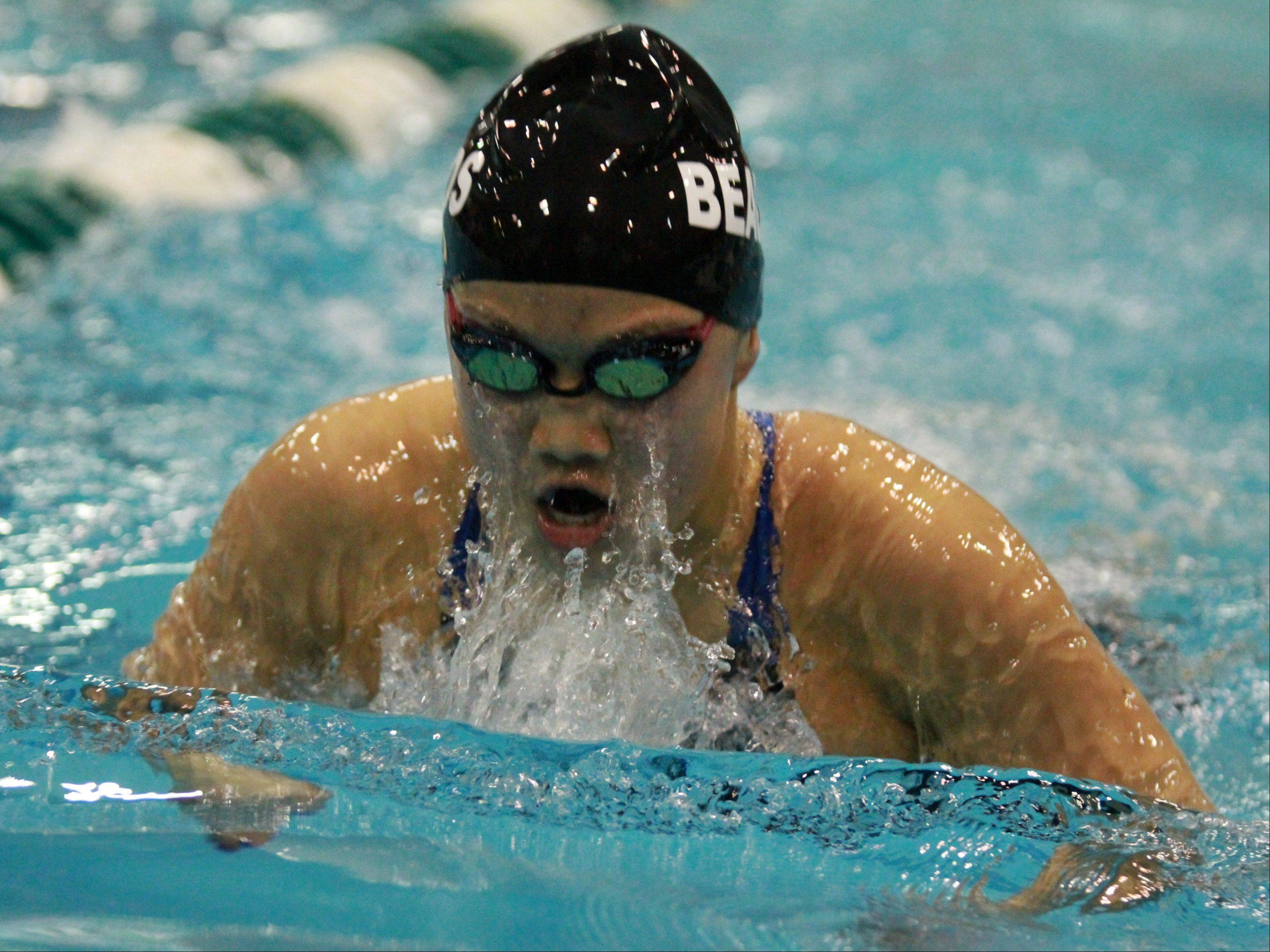 Rosary's Annie Gosselin placed fourth in the 200 yard individual medley at the girls state swimming finals on Saturday in Winnetka.