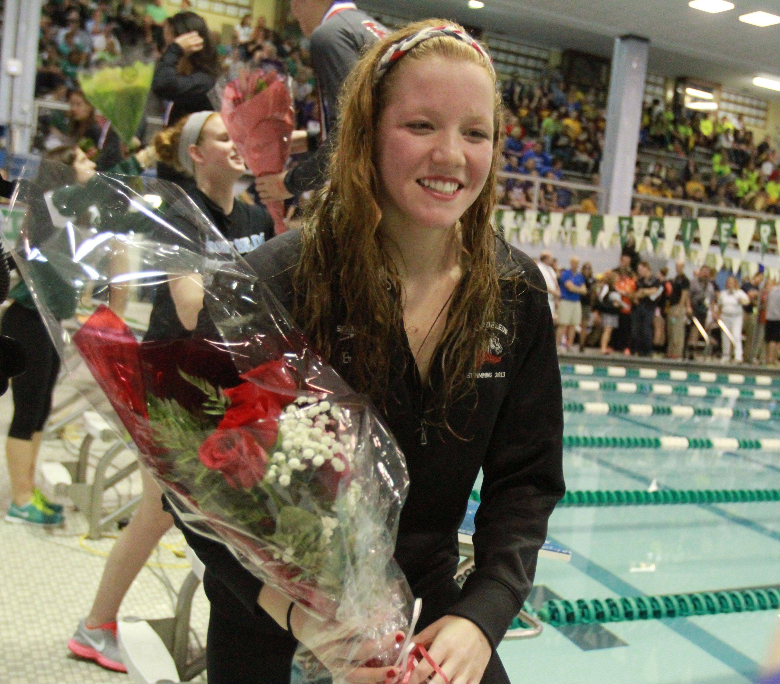 Mundelein's Erin Falconer placed 2nd in the 100 yard at the girls state swimming finals on Saturday in Winnetka.