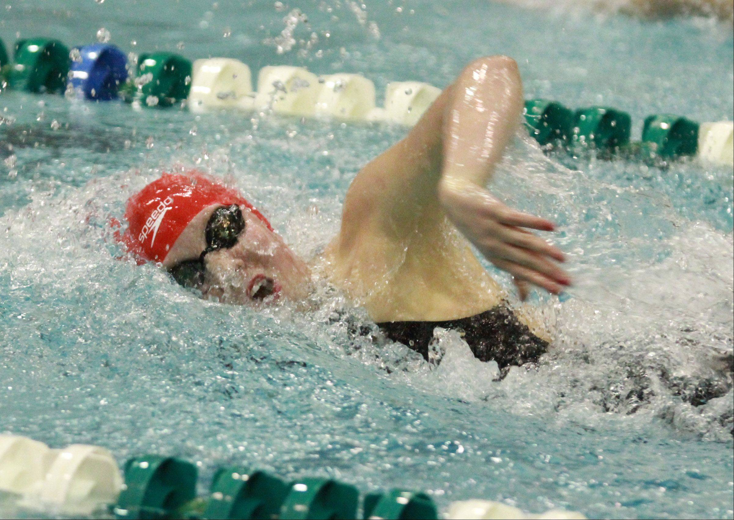 Mundelein's Erin Falconer placed second in the 200 yard free style at the girls state swimming finals on Saturday in Winnetka.
