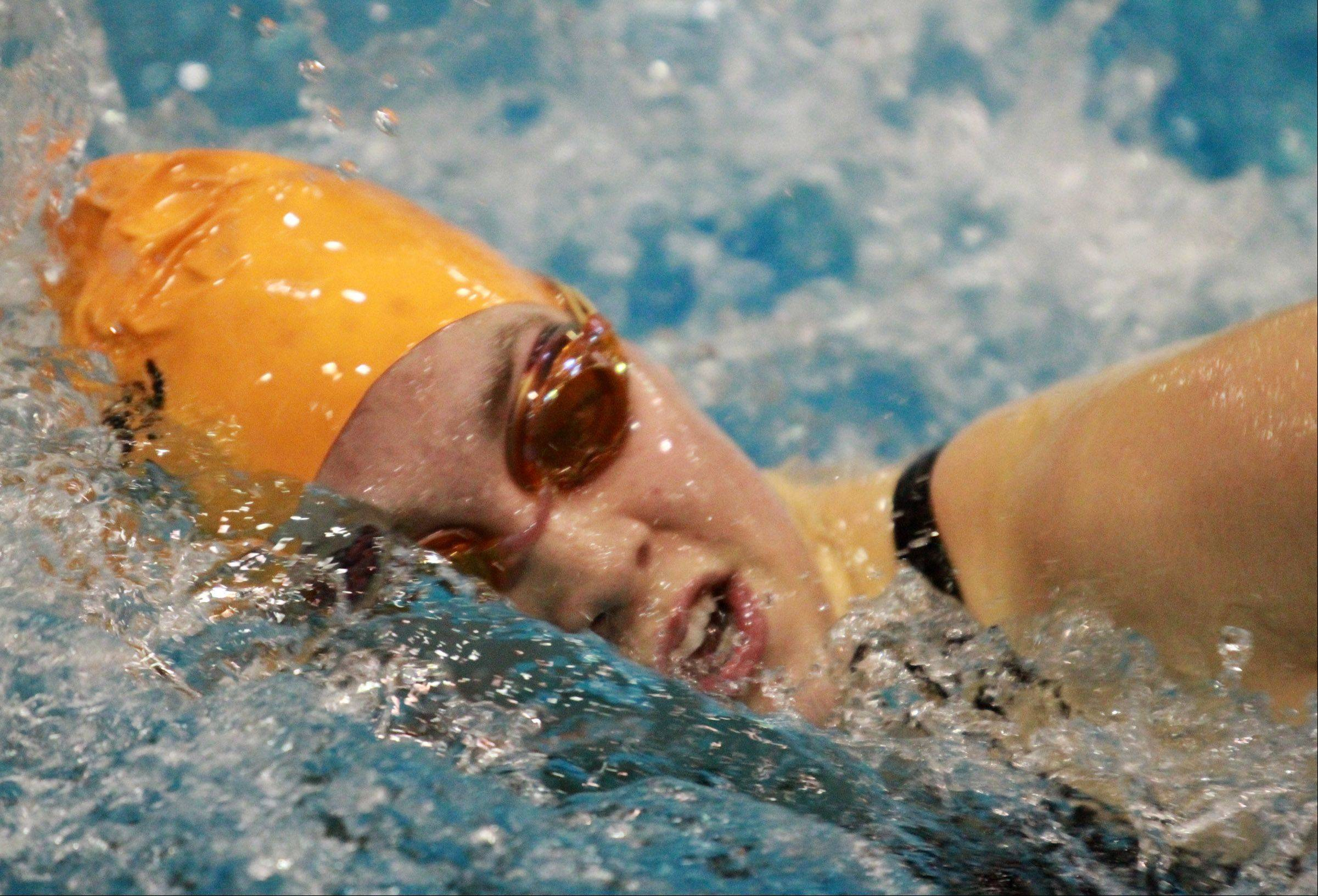 St. Charles' Izzie Bindseil placed eight in the 200 yard freestyle at the girls state swimming finals on Saturday in Winnetka.