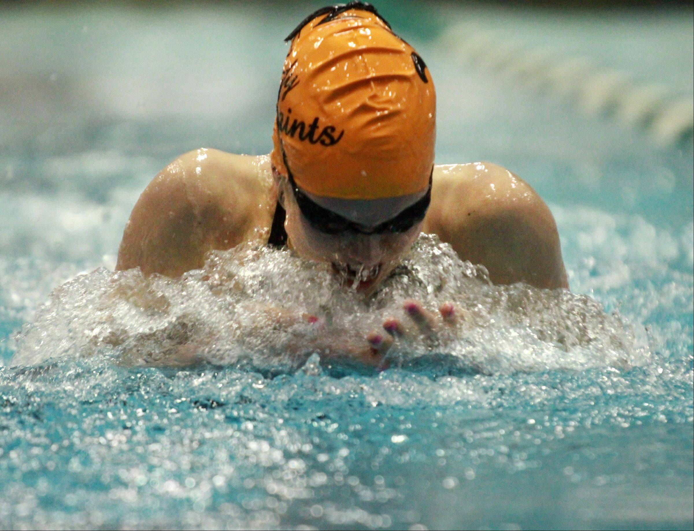 St. Charles East Shea Hoyt placed 3rd in the 100 yard breast stroke at the girls state swimming finals on Saturday in Winnetka.
