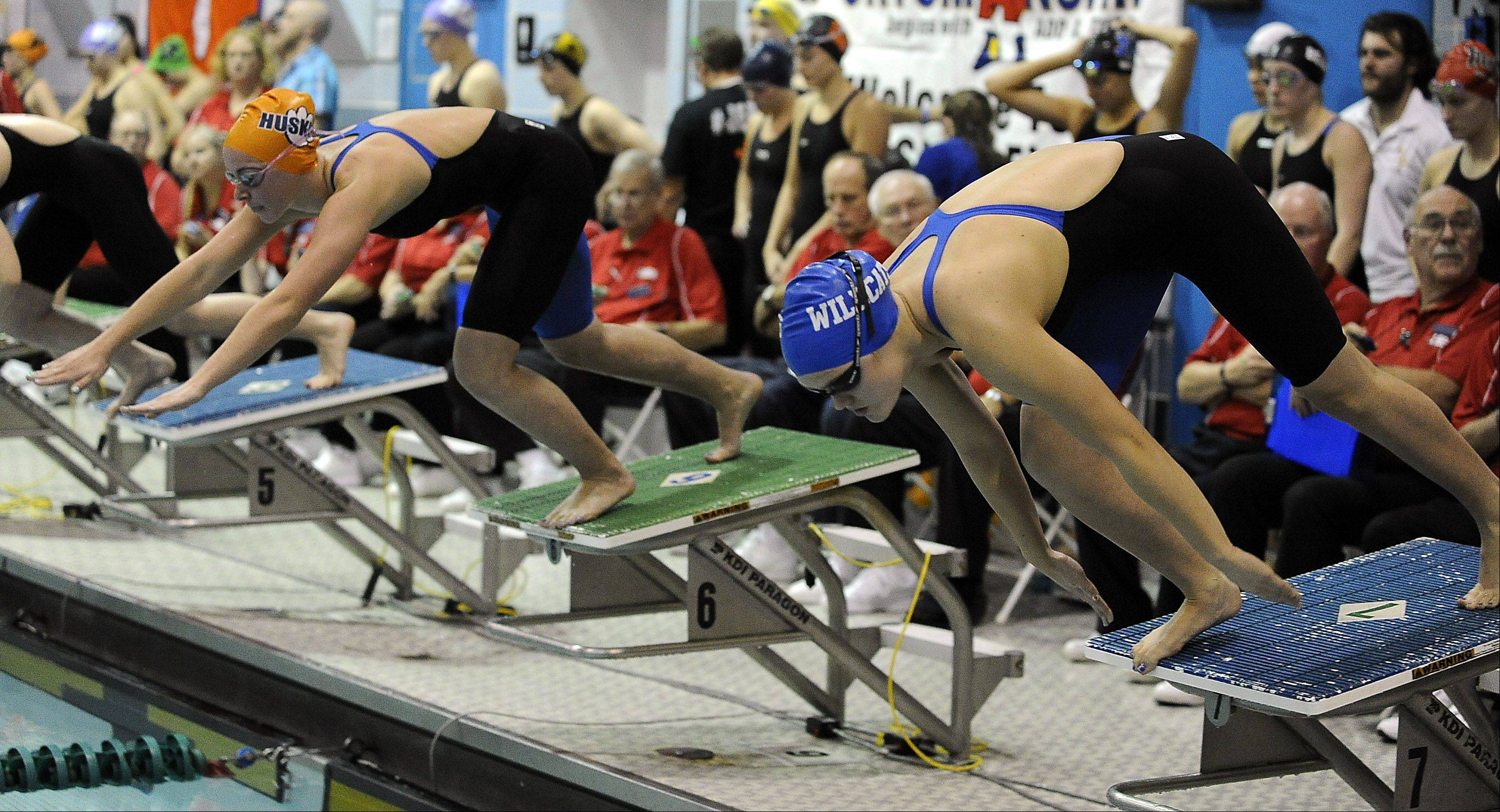 Wheeling's Theresa Godlewski fires off the platform at the start of the 50-yd. freestyle.