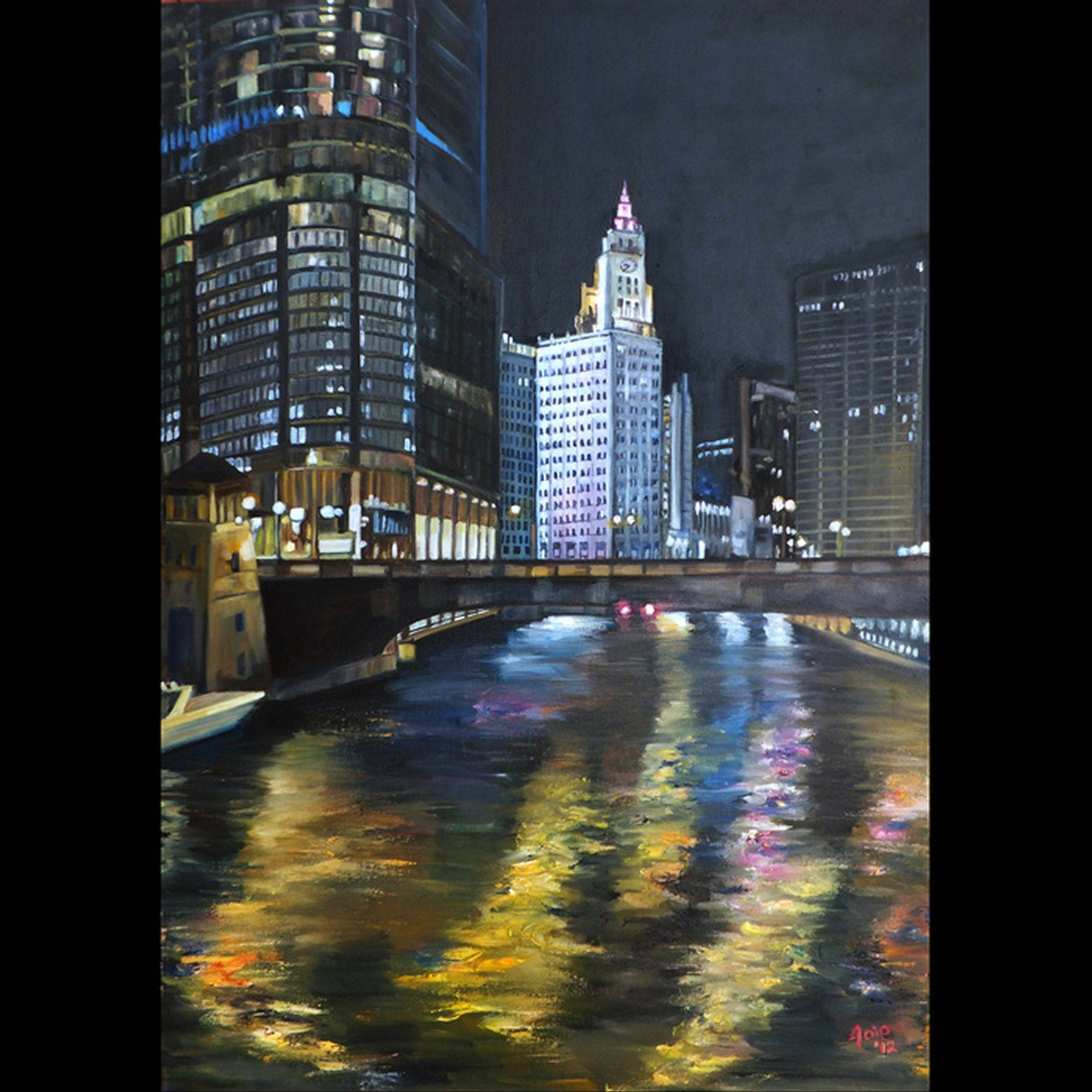 A painting of the Chicago River by Joy Bauer is set to be displayed as part of the Inside Art & Wine Show in Highland Park.