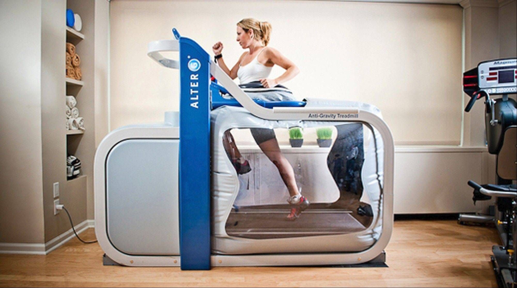 The AlterG treadmill allows athletes to get back to running while preventing gravity from doing further damage to injured limbs. An air bag is strapped around a patient's waist. When inflated, the bag allows the patient to run without putting weight on the legs.
