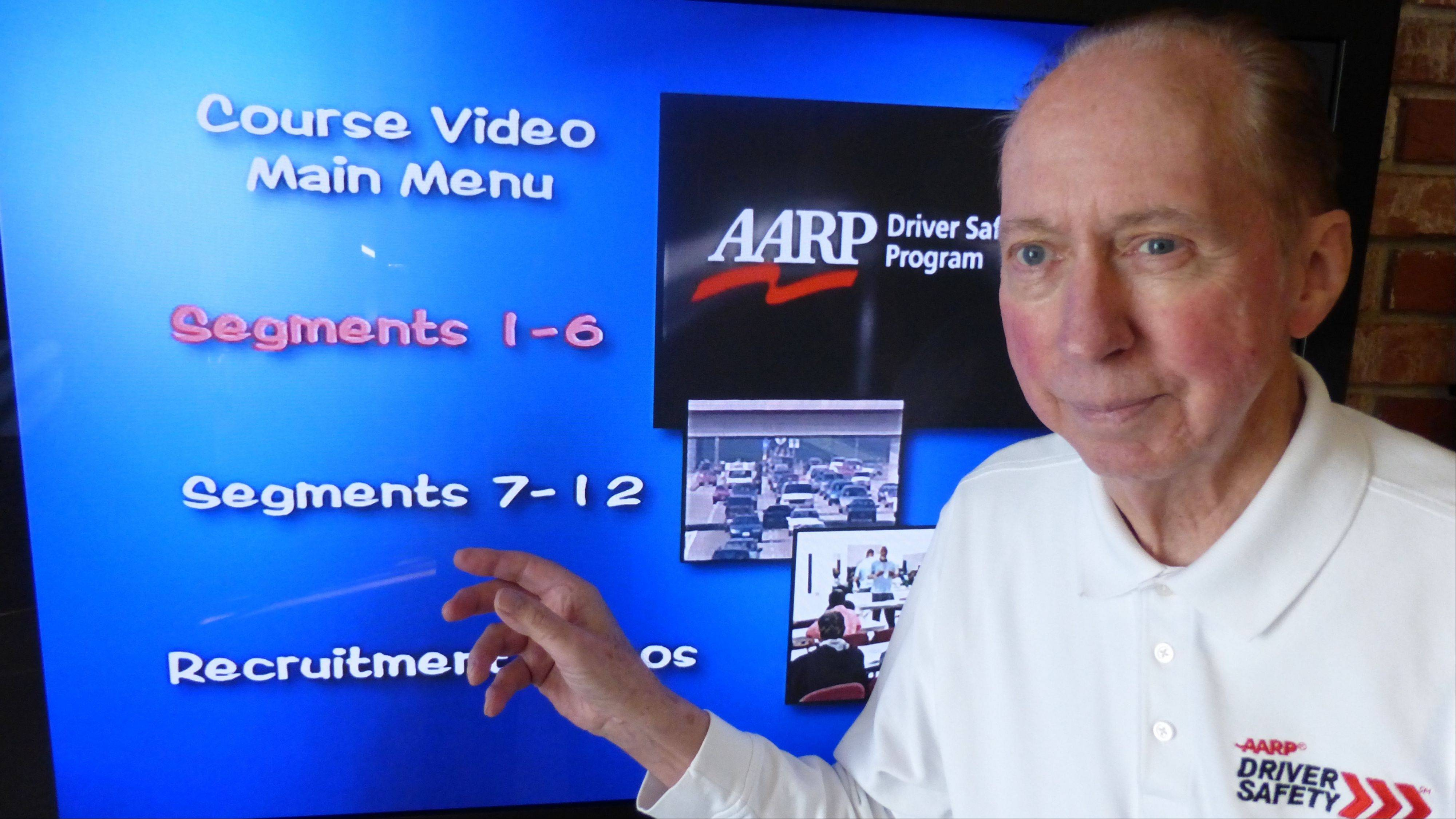 Adelore �Slim� Petrie leads an AARP Driver Safety Program which is offered periodically at the Arlington Heights Senior Center. The eight-hour course also is offered at other locations around the suburbs.