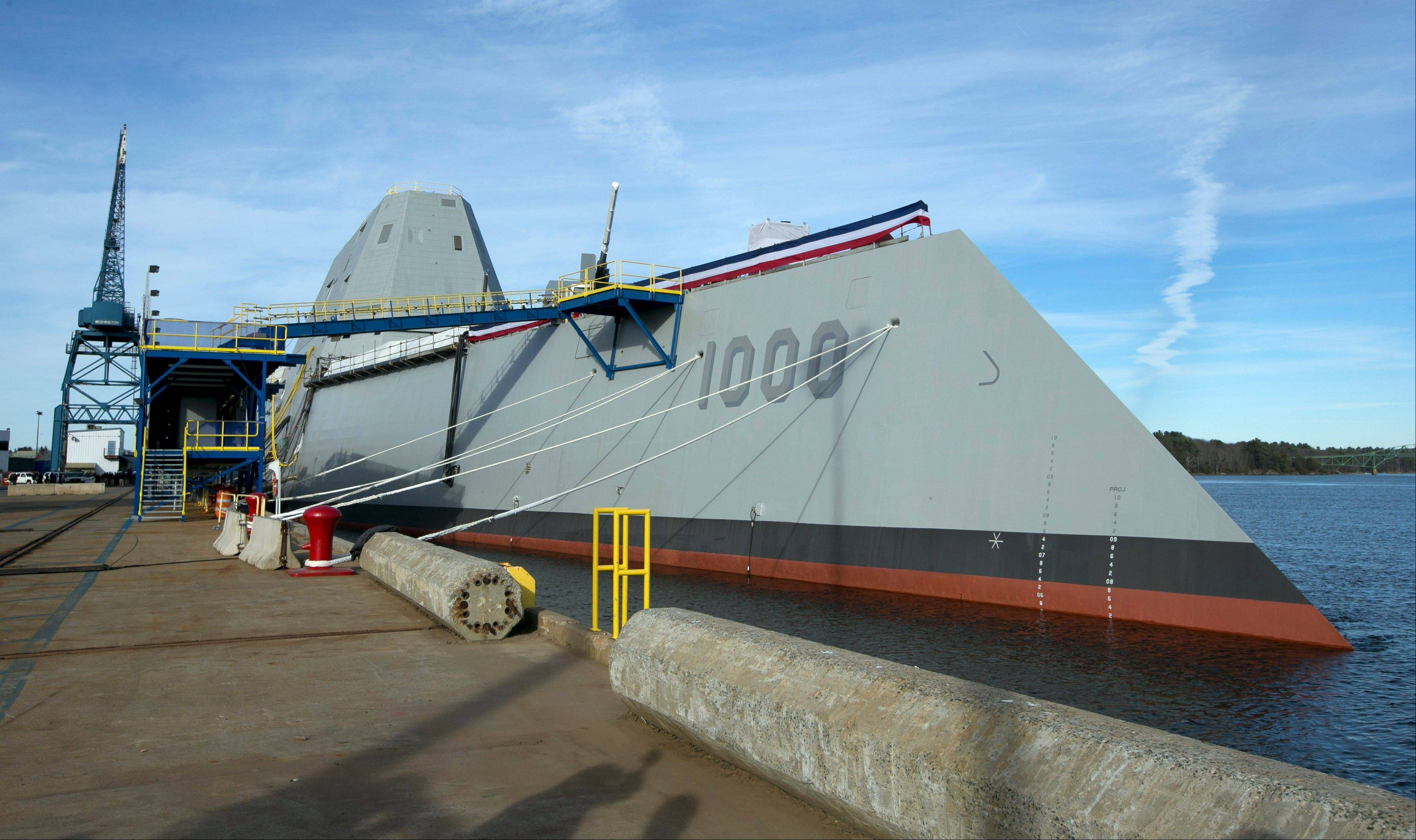 The Navy's stealthy Zumwalt destroyer is moored at Bath Iron Works, in Bath, Maine. The skipper of the technology-laden Zumwalt is Capt. James Kirk, and his futuristic-looking vessel sports cutting-edge technology, new propulsion and powerful armaments, but this ship isn't the Starship Enterprise.