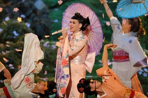 Katy Perry opens the American Music Awards on Sunday night in Los Angeles with a huge production number.