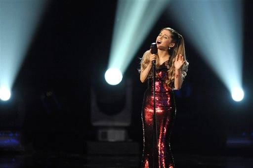Ariana Grande belts out a tune during the AMAs.
