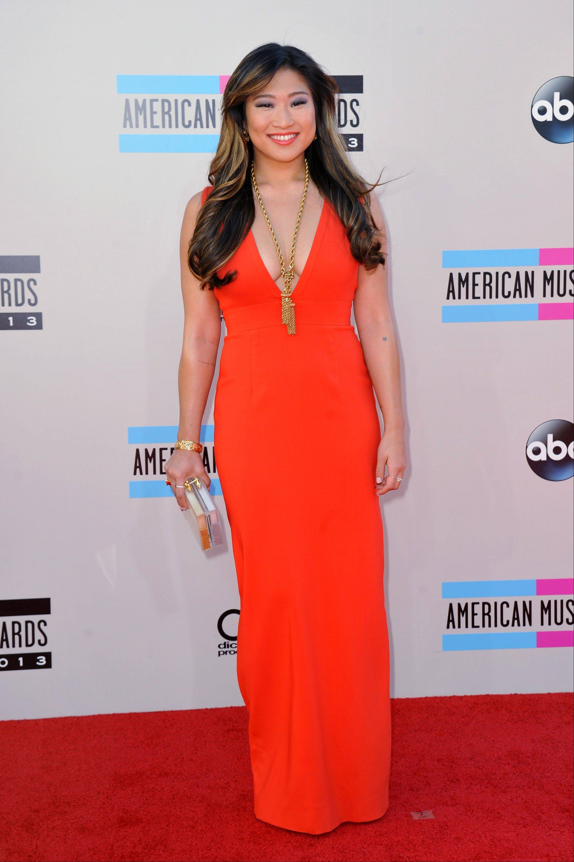 """Glee"" star Jenna Ushkowitz arrives at the American Music Awards."
