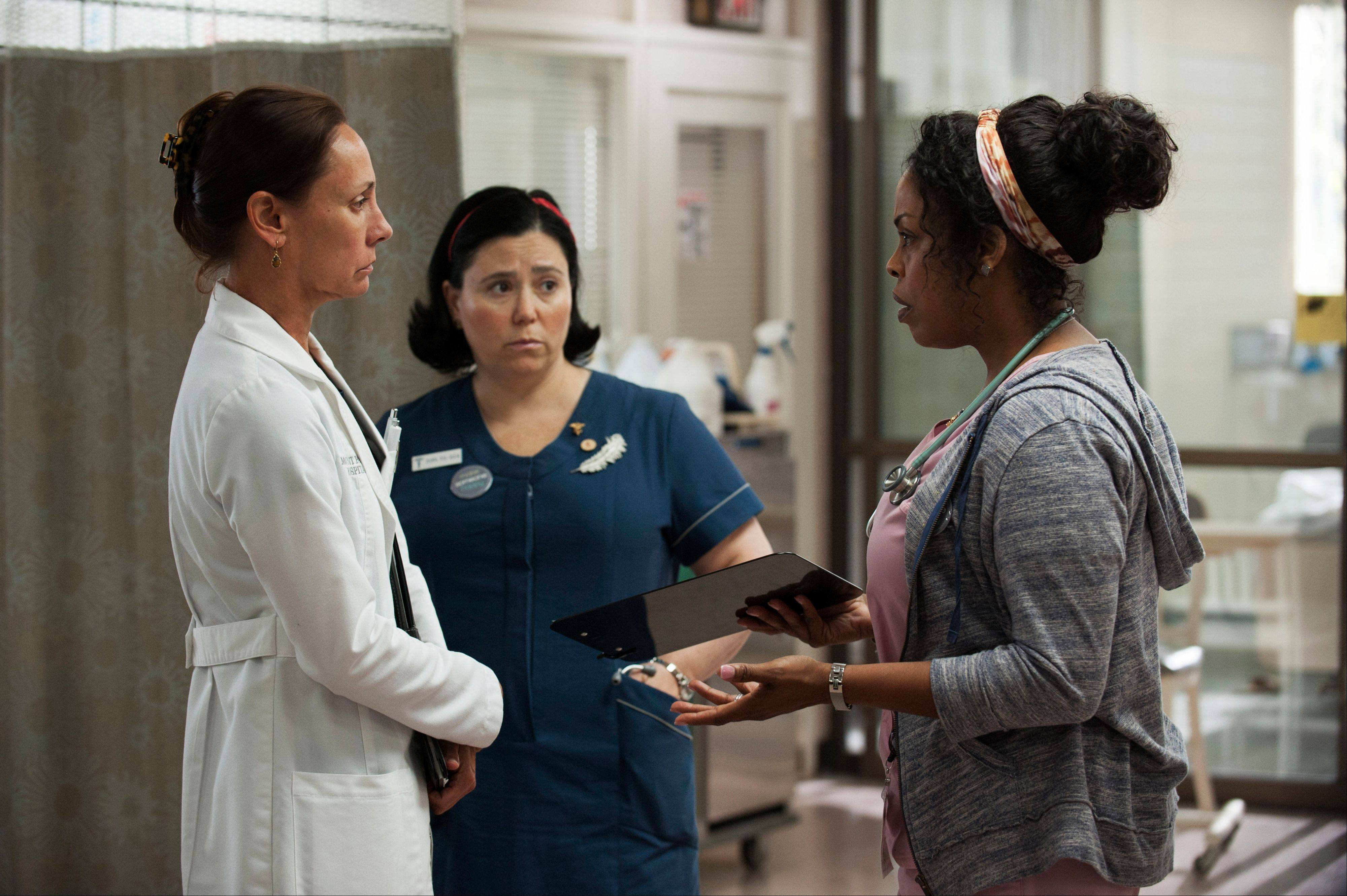 "Laurie Metcalf, from left, Alex Borstein and Niecy Nash in a scene from the HBO series ""Getting On."""