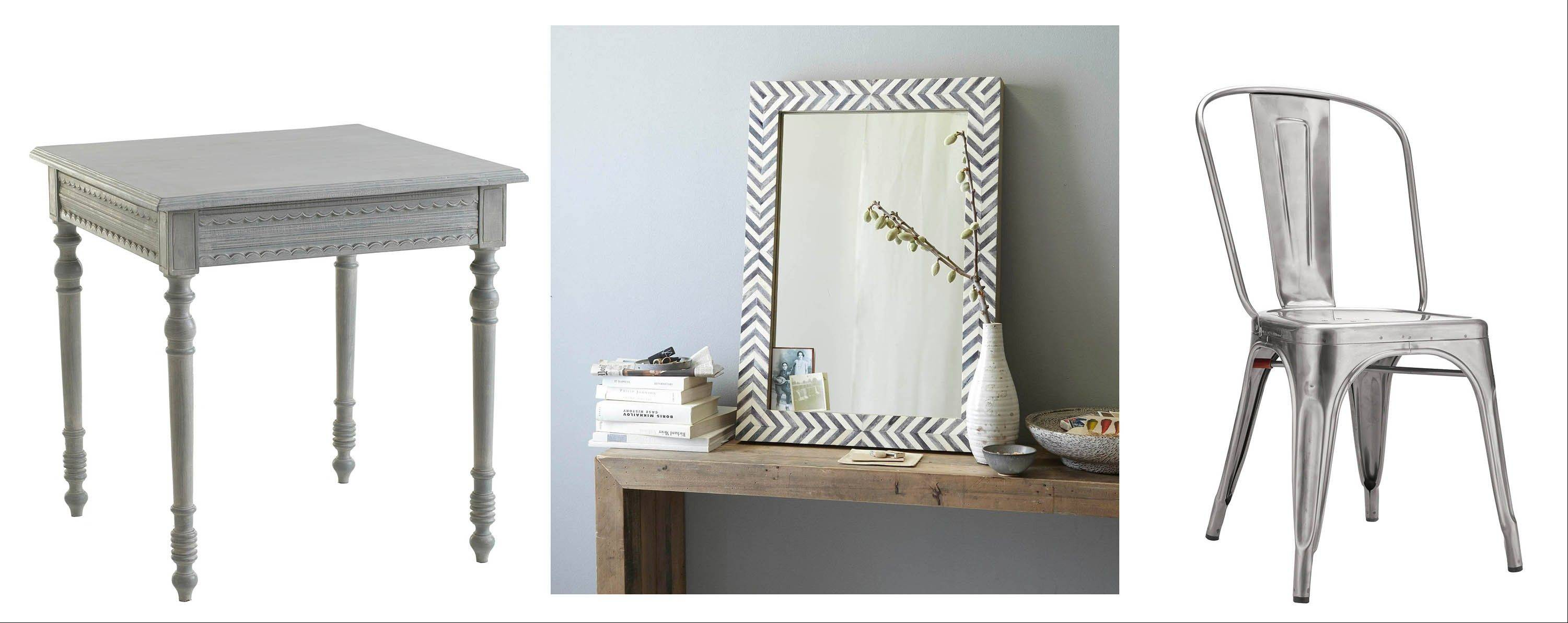 Gray is the new beige, and items in that shade will add a touch of silvery sophistication to your rooms. Left to right, Wisteria's Swedish Table; Parsons Wall Mirror in gray herringbone; and the Tolix Marais A Chair, first designed for a 1934 ocean liner.