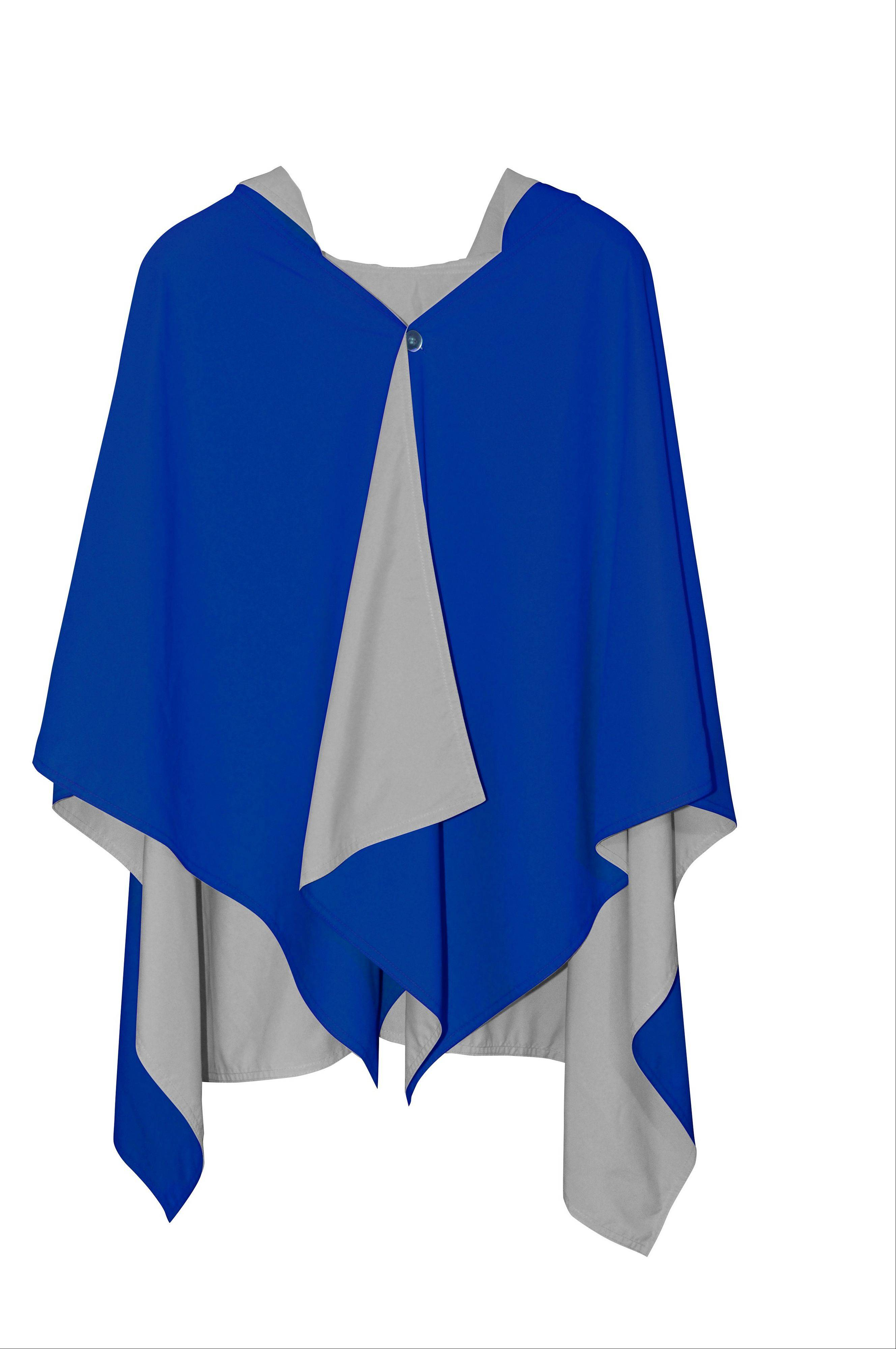 The hooded Rainrap weighs under 9 ounces, drapes like a cape and is reversible. It comes in eight two-color combinations and water beads off the silky fabric.