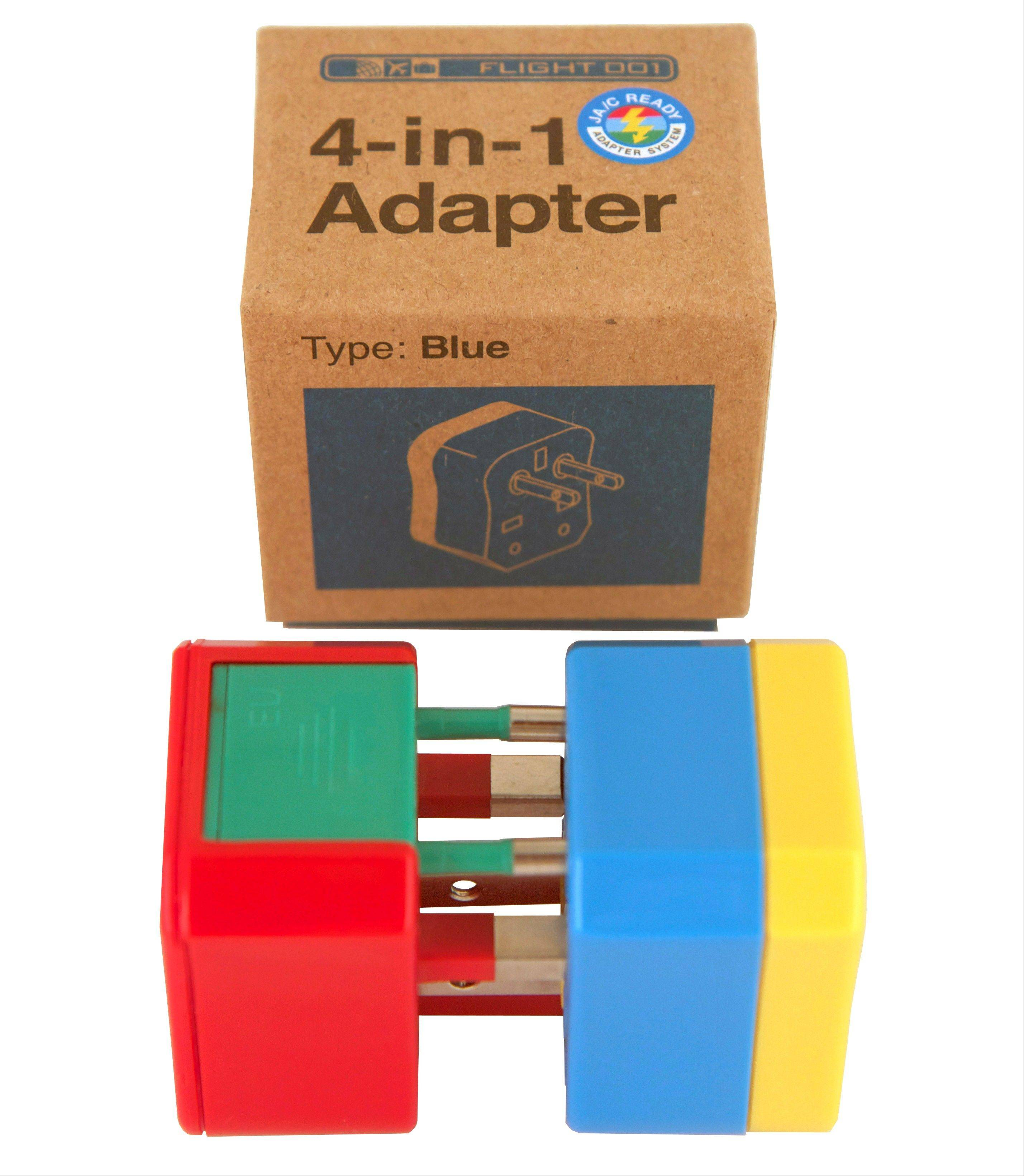 The 4-in-1 adapter, with four color-coded plugs, works in 150 countries.