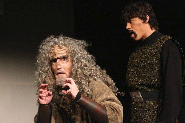 "Scrooge and the Ghost of Christmas Past become SQuja' (played by Kevin Alves) and the Ghost of Kahless Past (played by Zach Livingston) in this scene from a previous production of ""A Klingon Christmas Carol."""