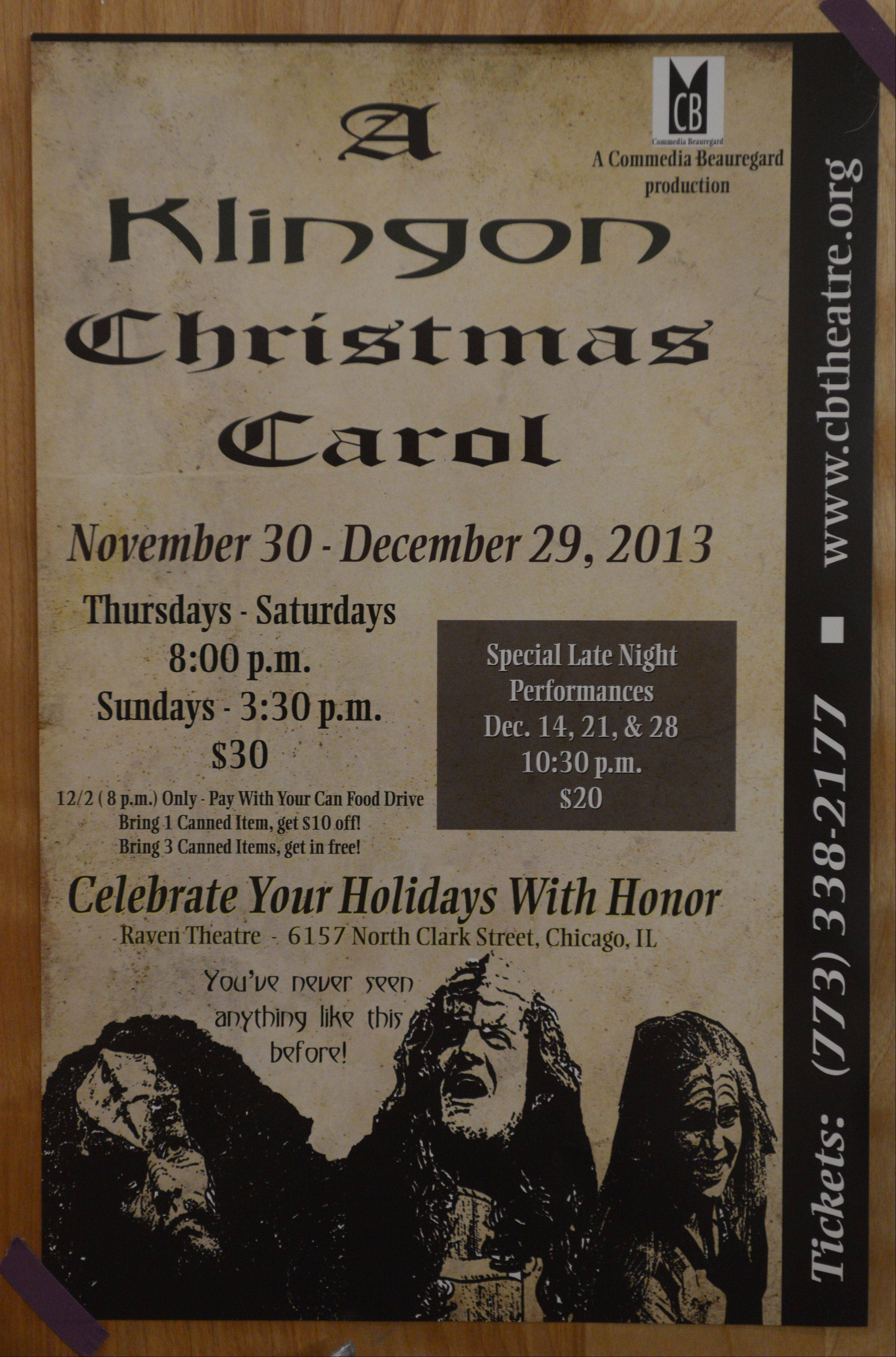 "Flier for ""A Klingon Christmas Carol."""