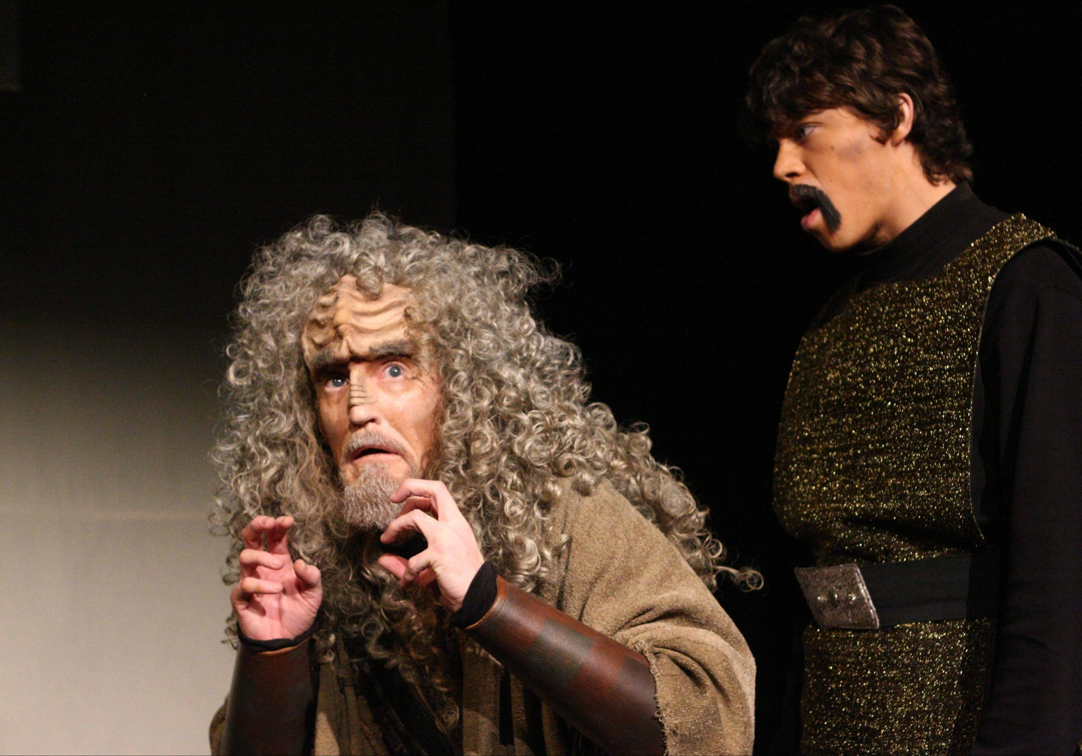 "Scrooge and the Ghost of Christmas Past become SQuja' (played by Kevin Alves), and the Ghost of Kahless Past (played by Zach Livingston) in this scene from a previous production of ""A Klingon Christmas Carol."""