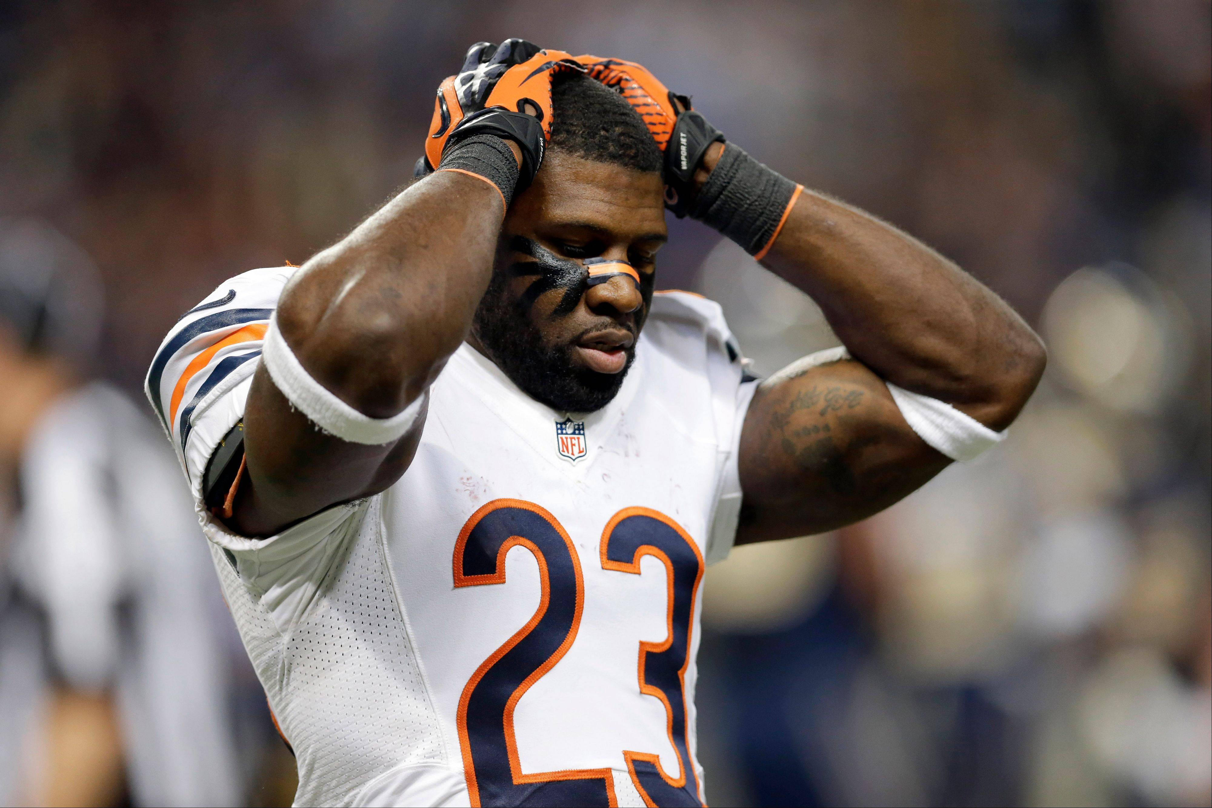 The Bears' Devin Hester reacts after a punt he returned for an apparent touchdown was called back because of an offensive holding penalty during the fourth quarter of an NFL football game against the St. Louis Rams on Sunday, Nov. 24, 2013, in St. Louis.
