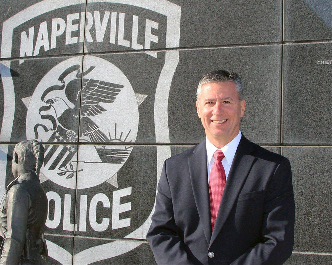 Louis Cammiso was promoted Monday to the rank of commander in the Naperville Police Department from his previous position as Internal Affairs Sgt. and Public Information Officer.