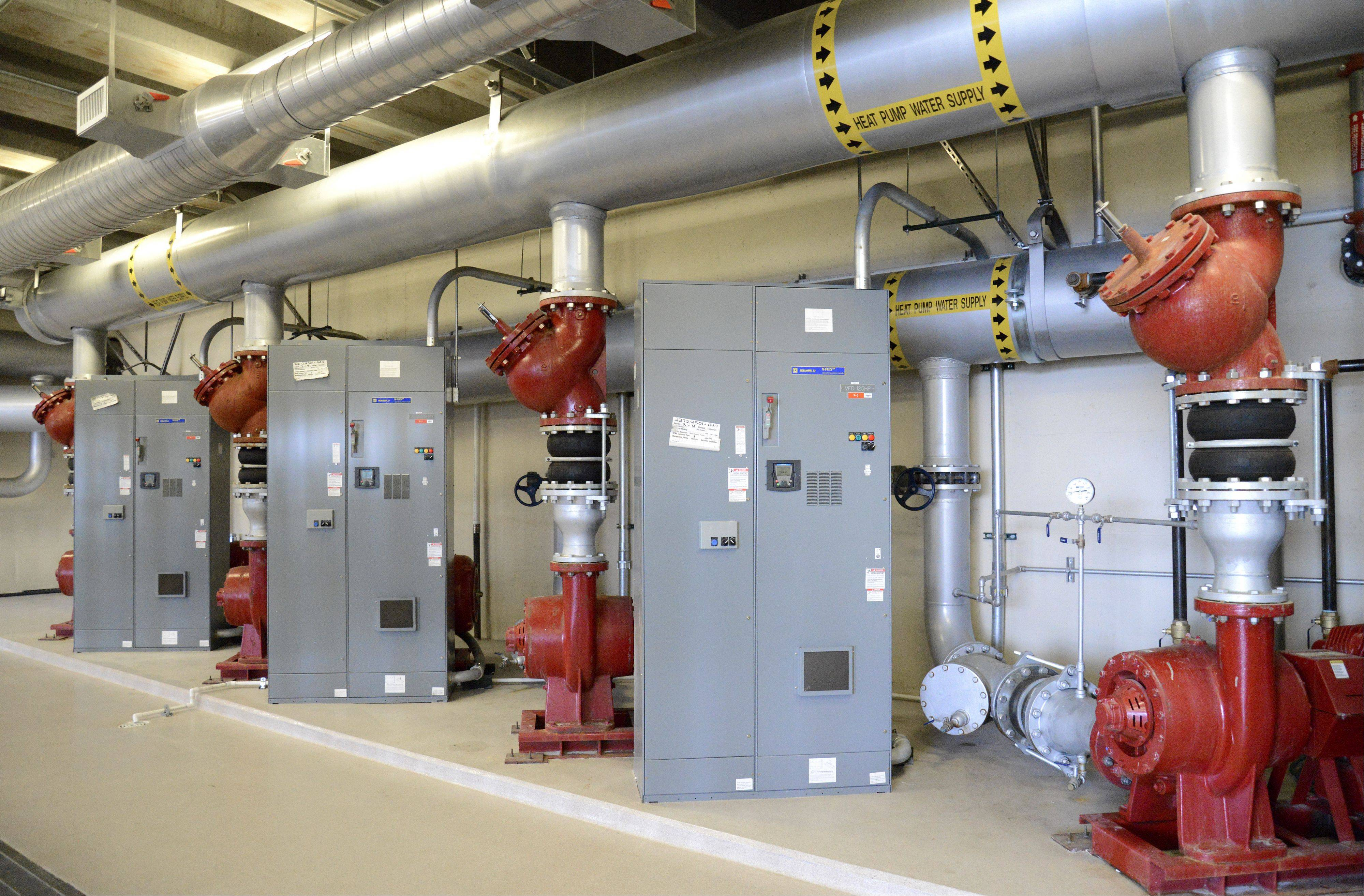 Advocate Sherman Hospital's geothermal system, which heats and cools the hospital through a 15-acre lake, includes four circulating pumps.