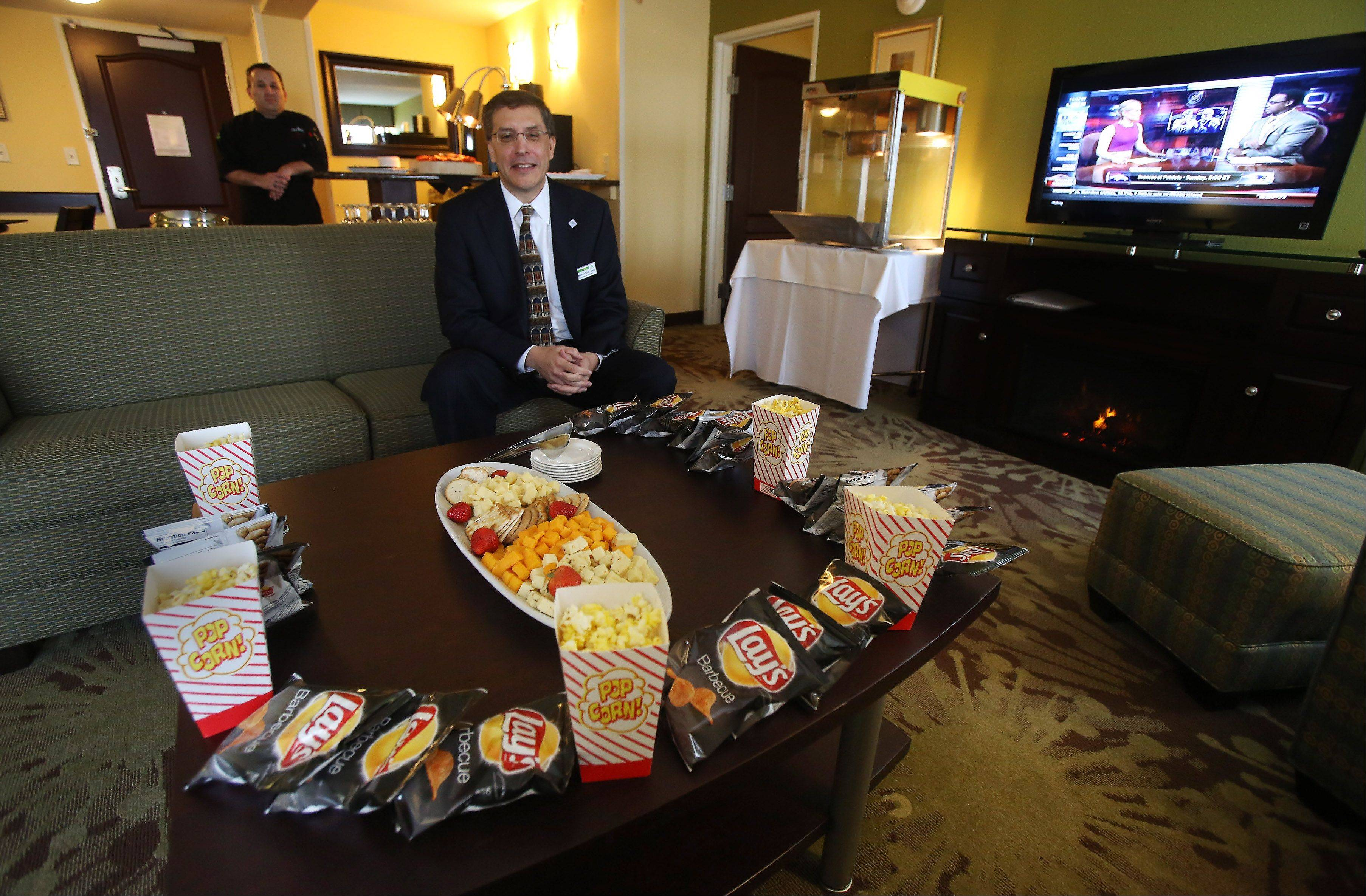 General manager Stephen McCulley at the Holiday Inn Gurnee Convention Center looks forward to hosting 10 sailors from Great Lakes Naval Training Station for Thanksgiving Day. The sailors will be fed dinner and lighter fare prepared under the direction of executive chef Christopher Solare, and have use of this Presidential Suite during their stay.