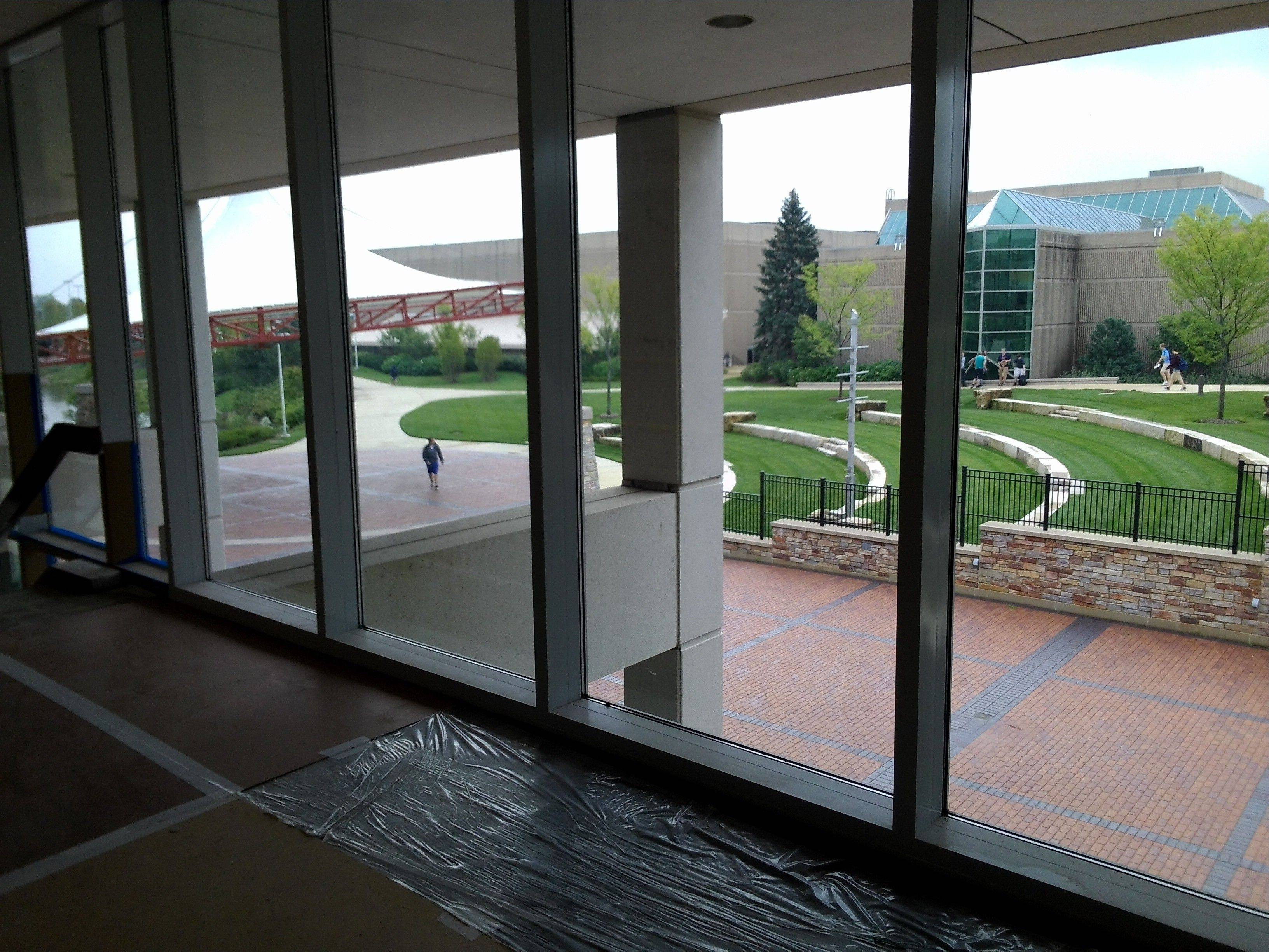 The new outdoor patio stage is one of the many aspects of the $35 million renovation of the McAninch Arts Center at the College of DuPage in Glen Ellyn.