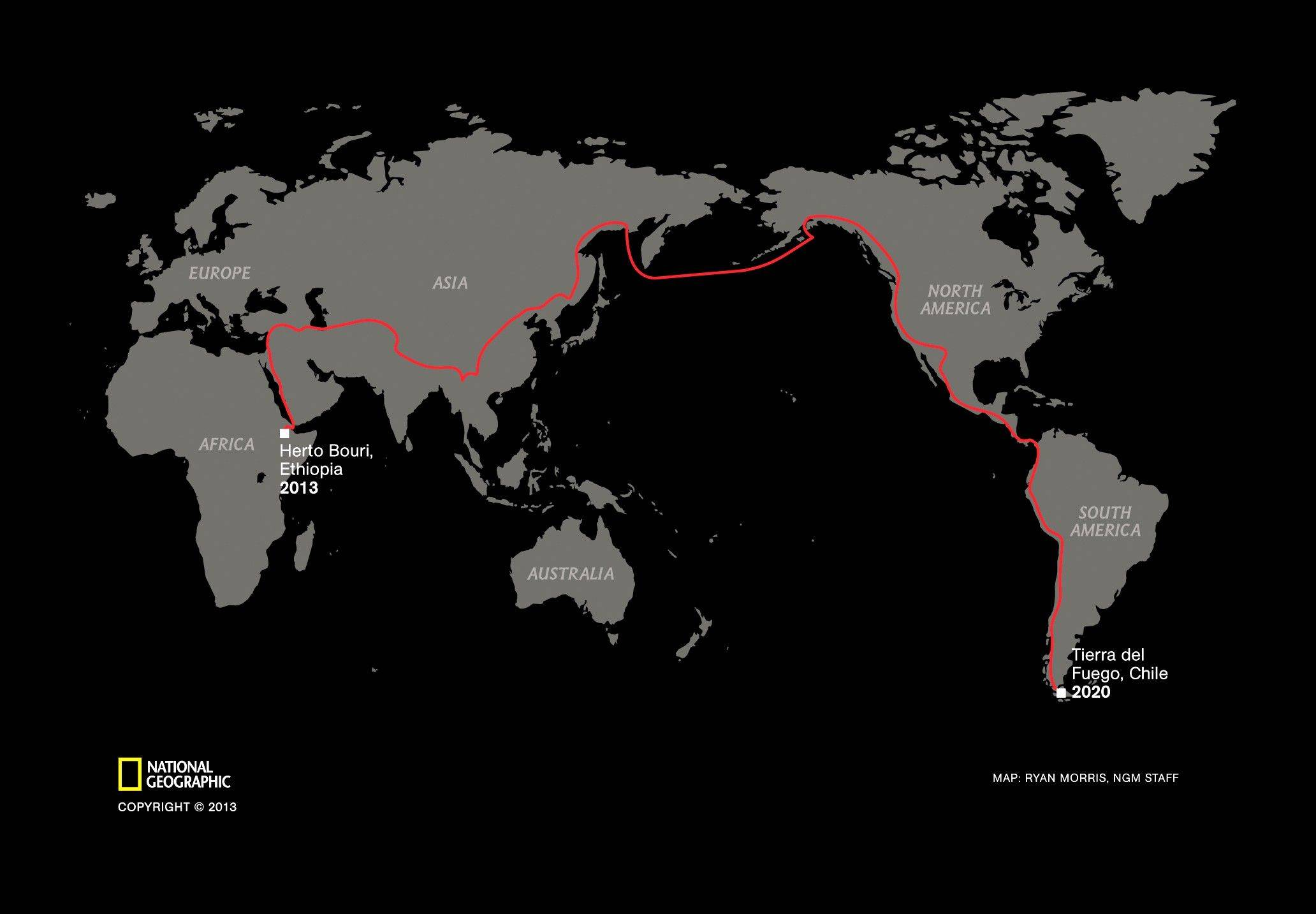 This graphic released by the National Geographic Society shows the route of the the planned seven-year global trek from Africa to Tierra del Fuego of journalist Paul Salopek.