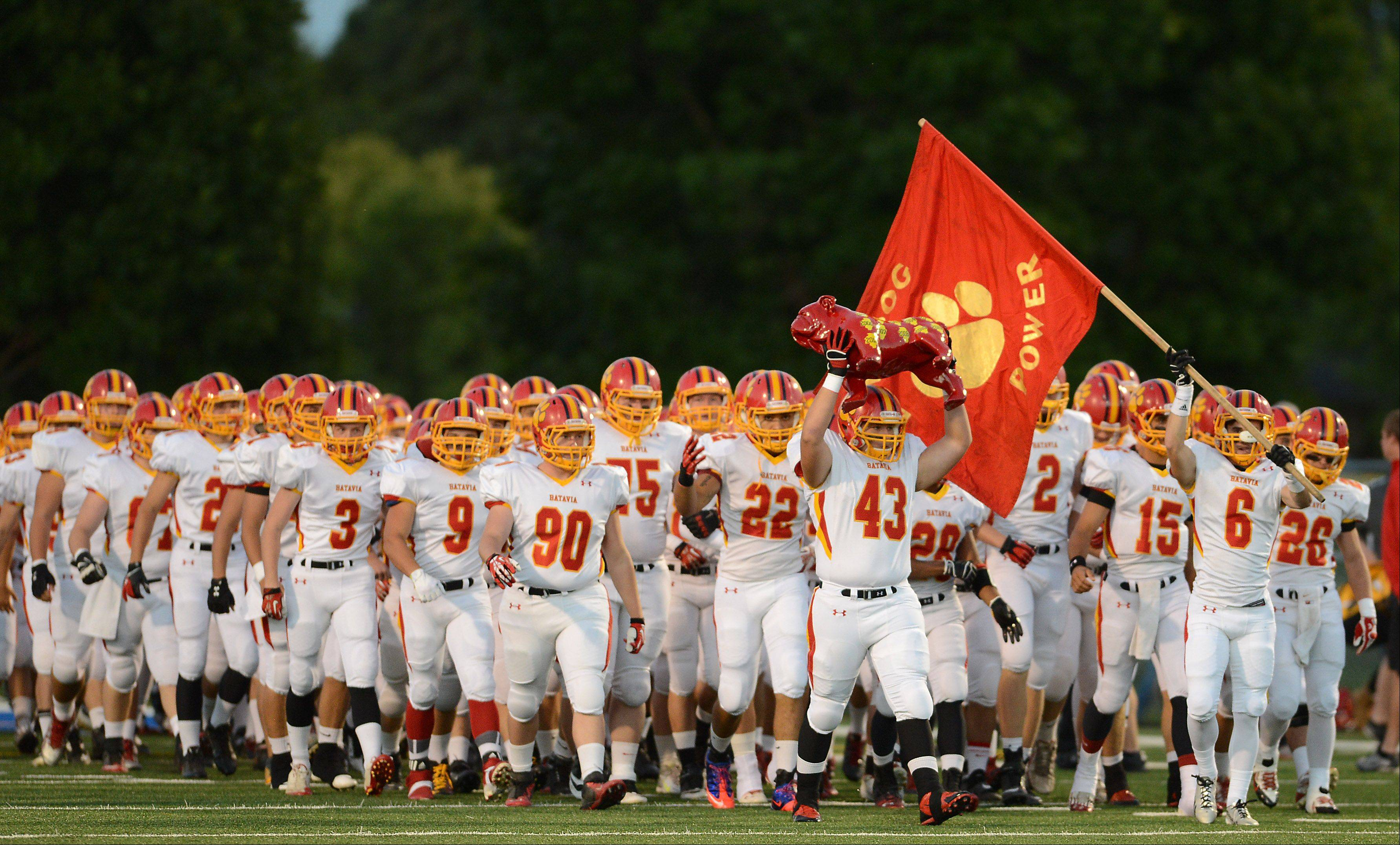 Batavia prepares to play Geneva in this file photo from Friday, September 13, 2013. The Batavia Bulldogs play for a state championship Saturday in DeKalb.