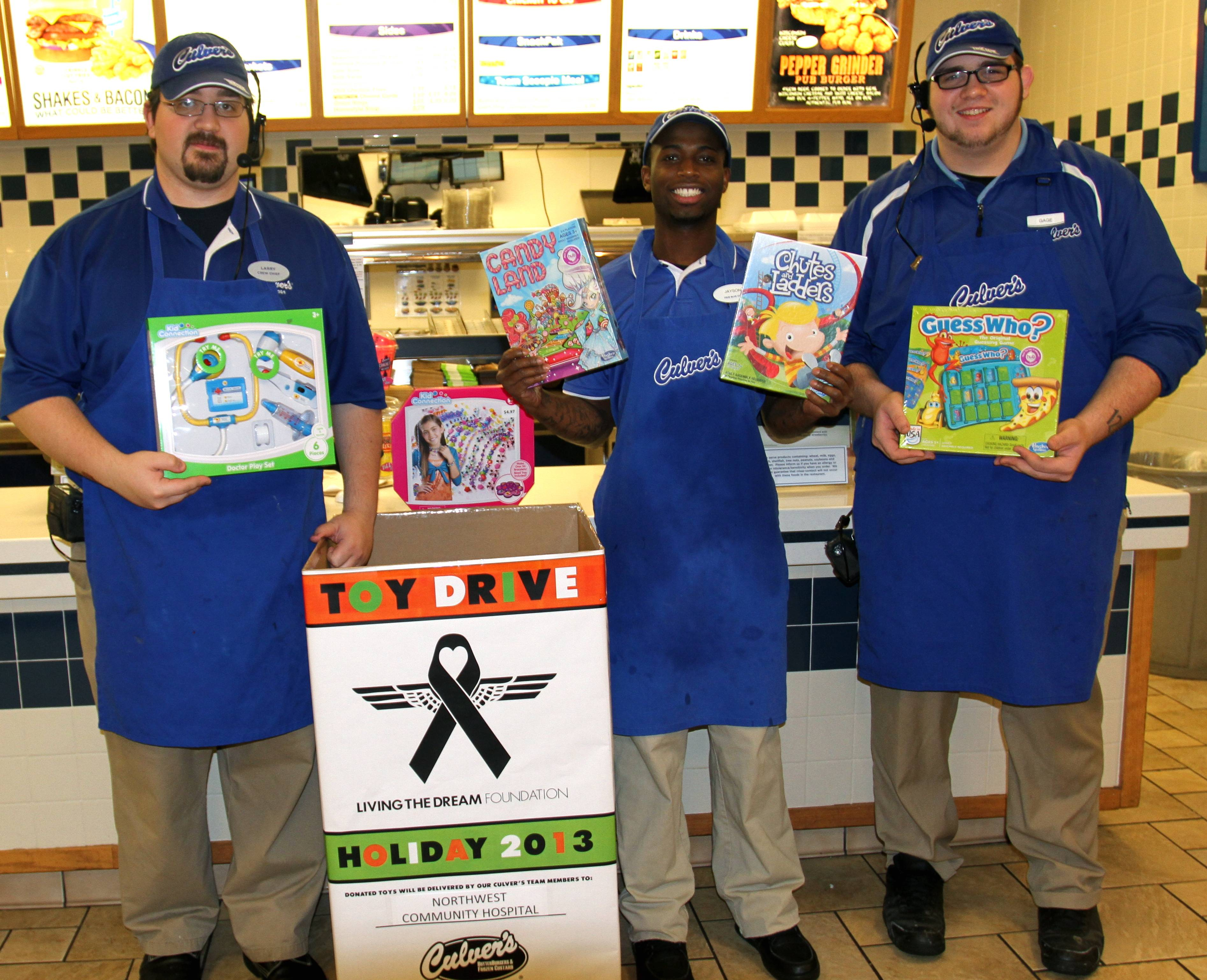 Team members from Culver's of Mount Prospect hell kick off their store's toy drive.