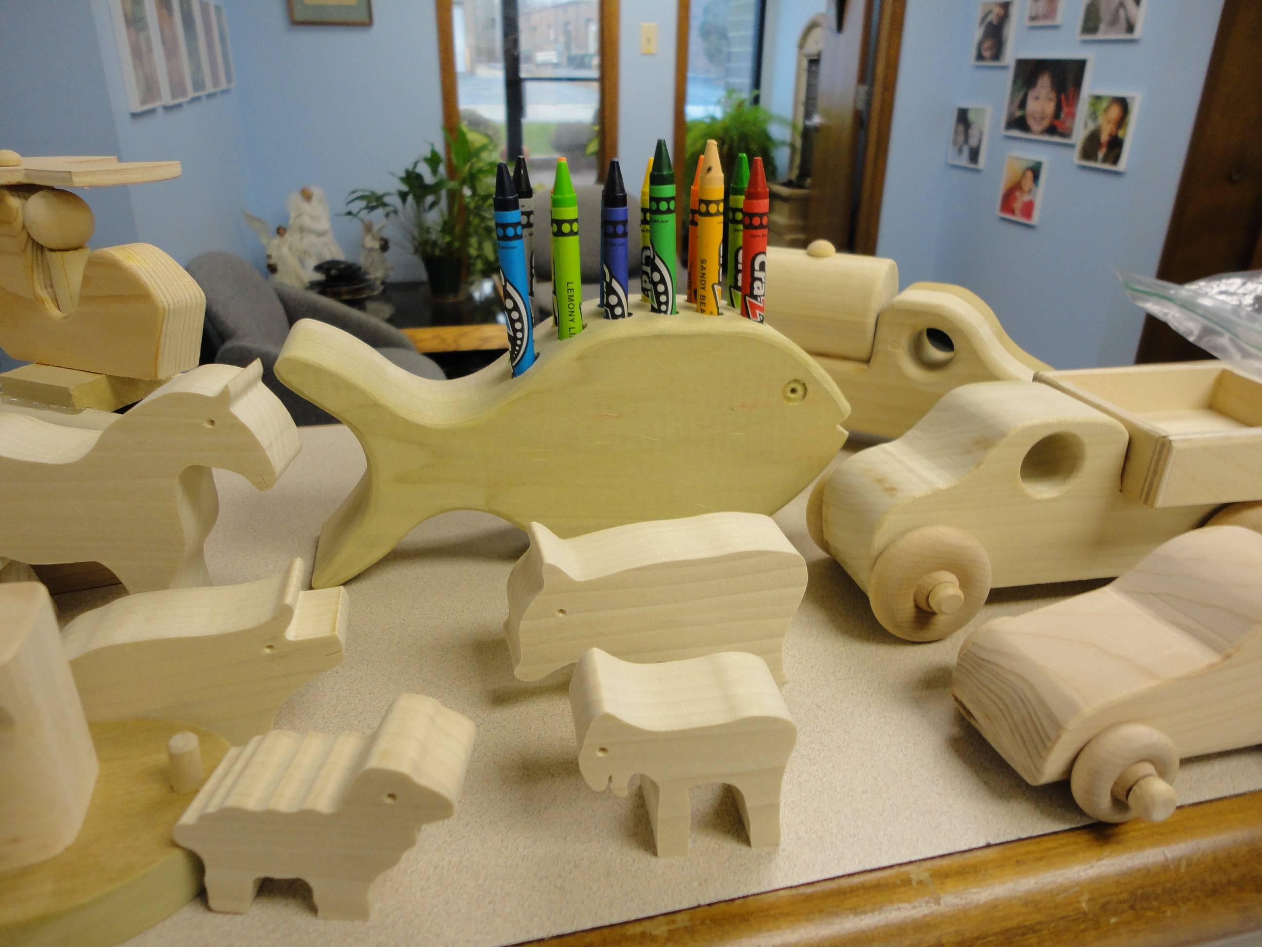 A few of the toys handcrafted by the DuPage Woodworkers Club.