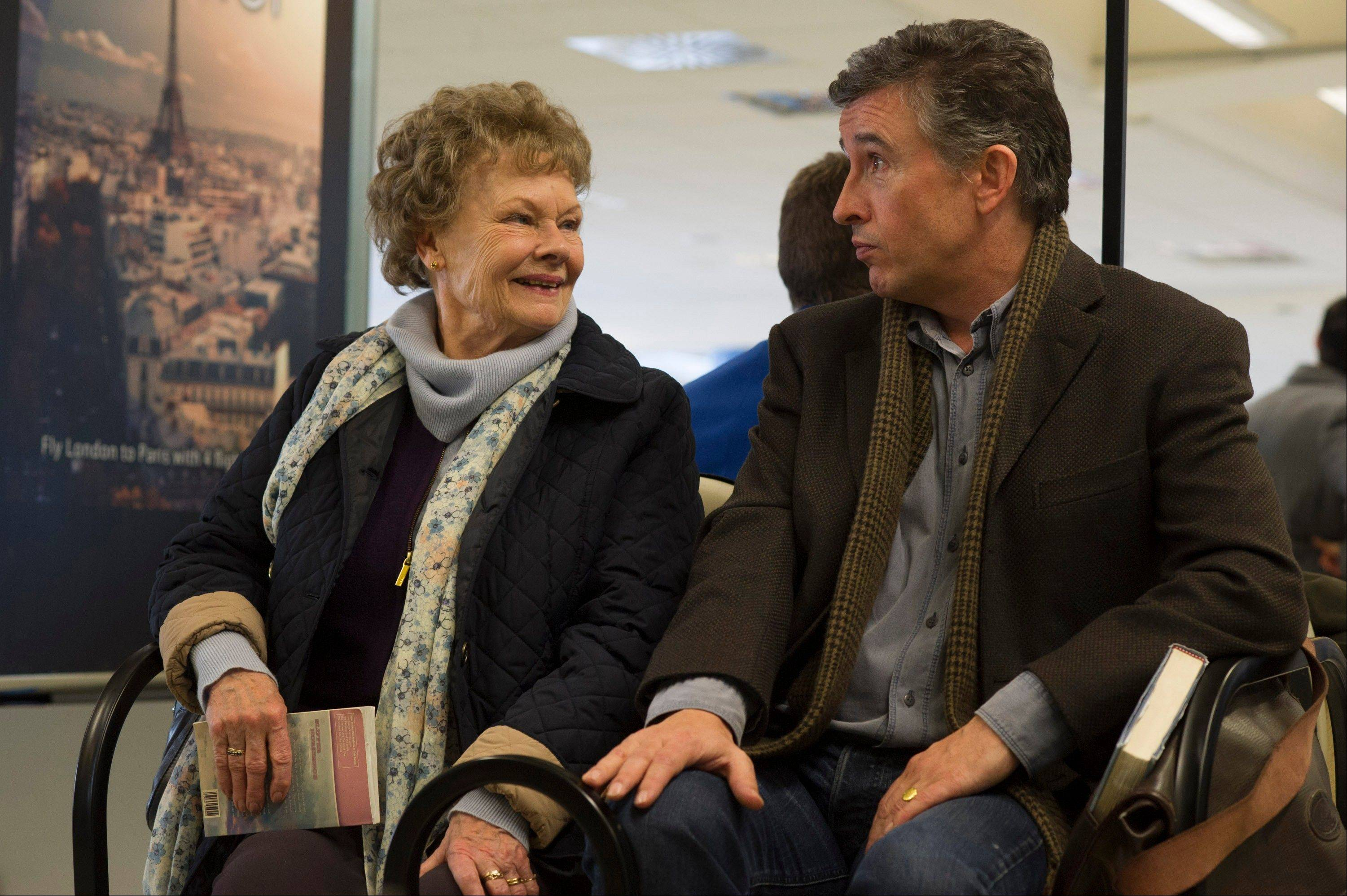 "A woman (Judi Dench) searching for her son, taken from her when she was a young mother, heads to America with a journalist (Steve Coogan) in ""Philomena."""