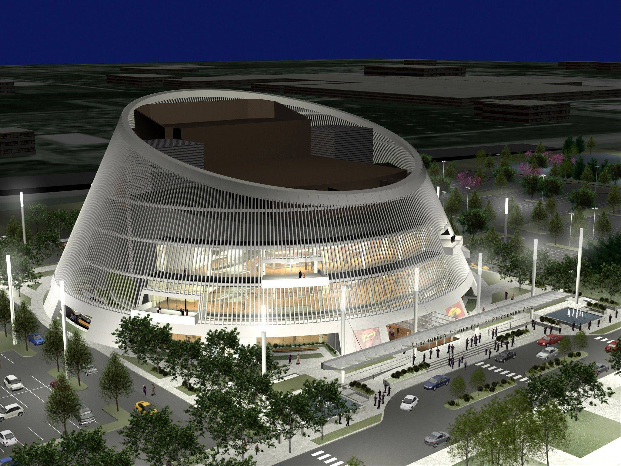 A rendering of Schaumburg�s planned 2,400-seat Performing Arts Center. The village still hopes to build it next to the Schaumburg Convention Center, but the project currently isn�t planned within the next five years. The village initially hoped to open it in 2006.