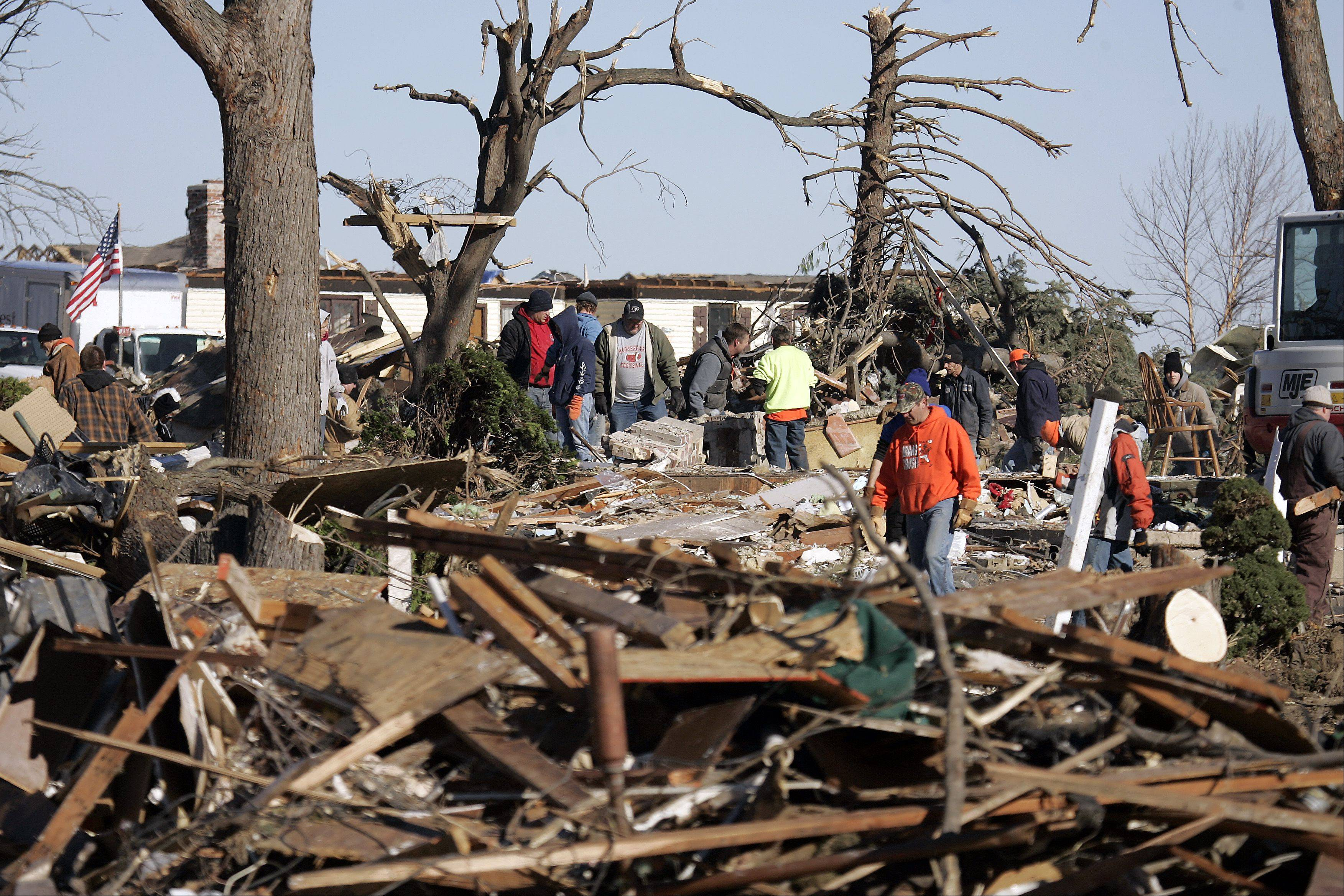 Many suburban residents have made the trip to Washington, Ill., over the last week to help clean up after a powerful tornado devastated parts of the community Nov. 16.
